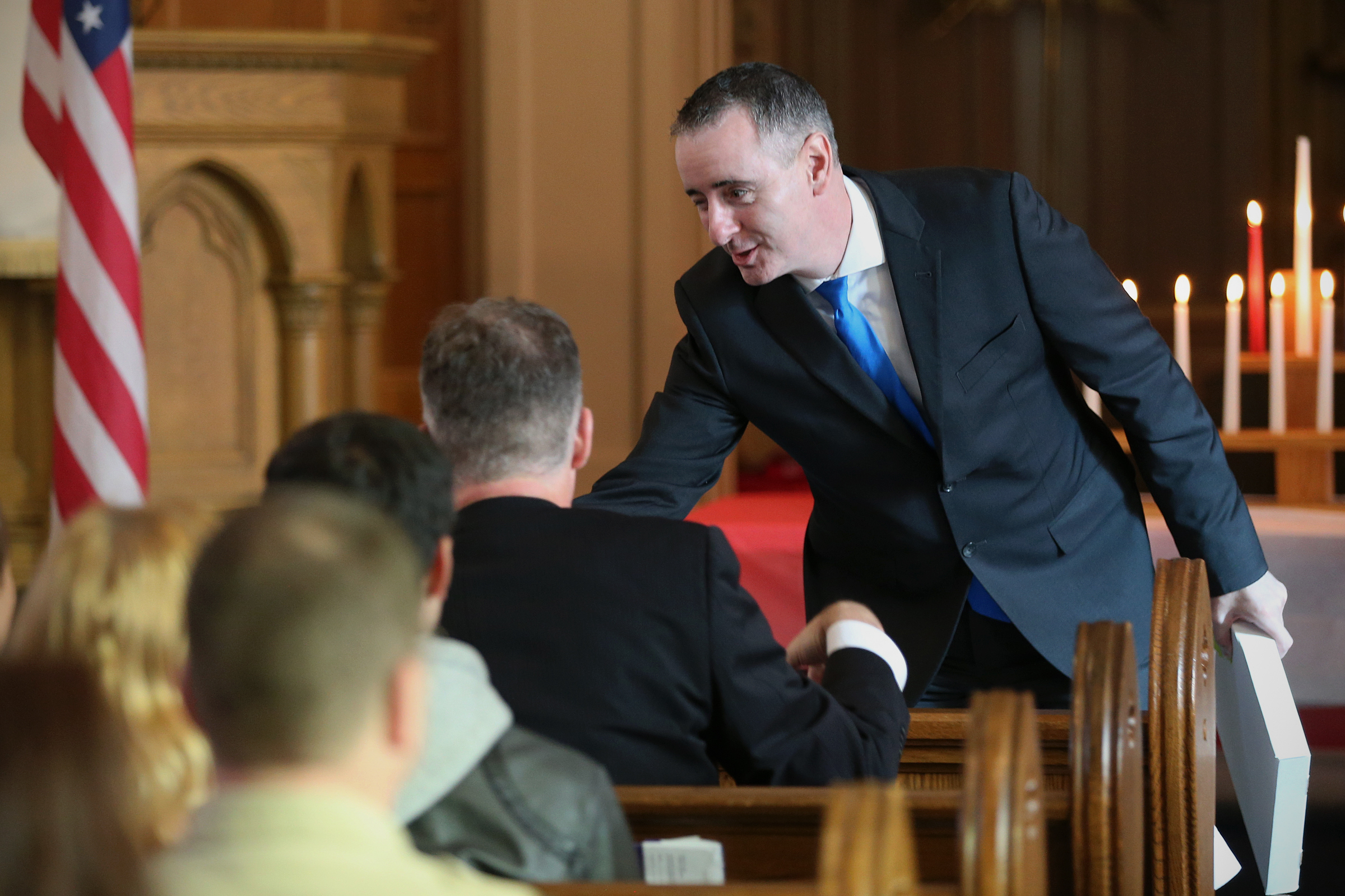 Rep. Brian Fitzpatrick (R-Pa.) attended an Eagle Scout ceremony at St. John´s Lutheran Church in Quakertown, Pa., on Saturday, Nov. 3, 2018. Fitzpatrick, himself an Eagle Scout, is running against Democratic candidate Scott Wallace.