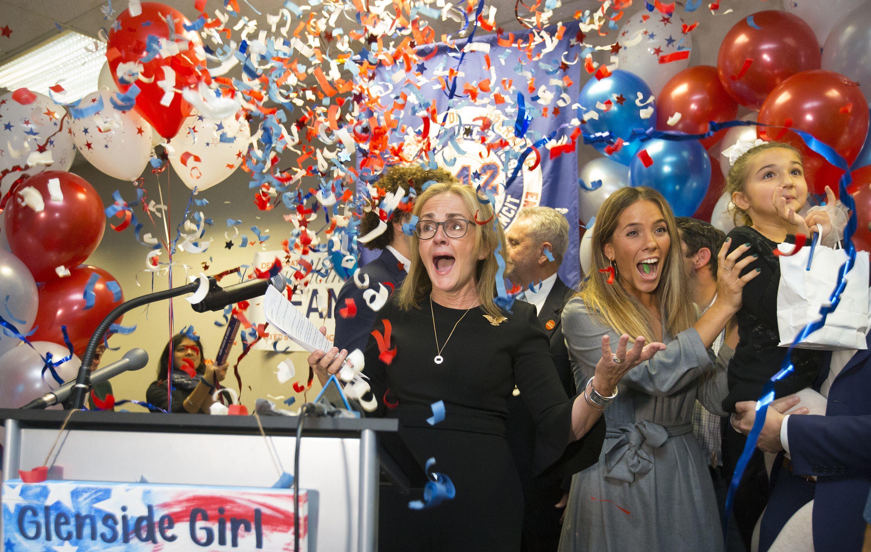 Democrat Madeleine Dean celebrates after winning Pennsylvania´s Fourth Congressional District.