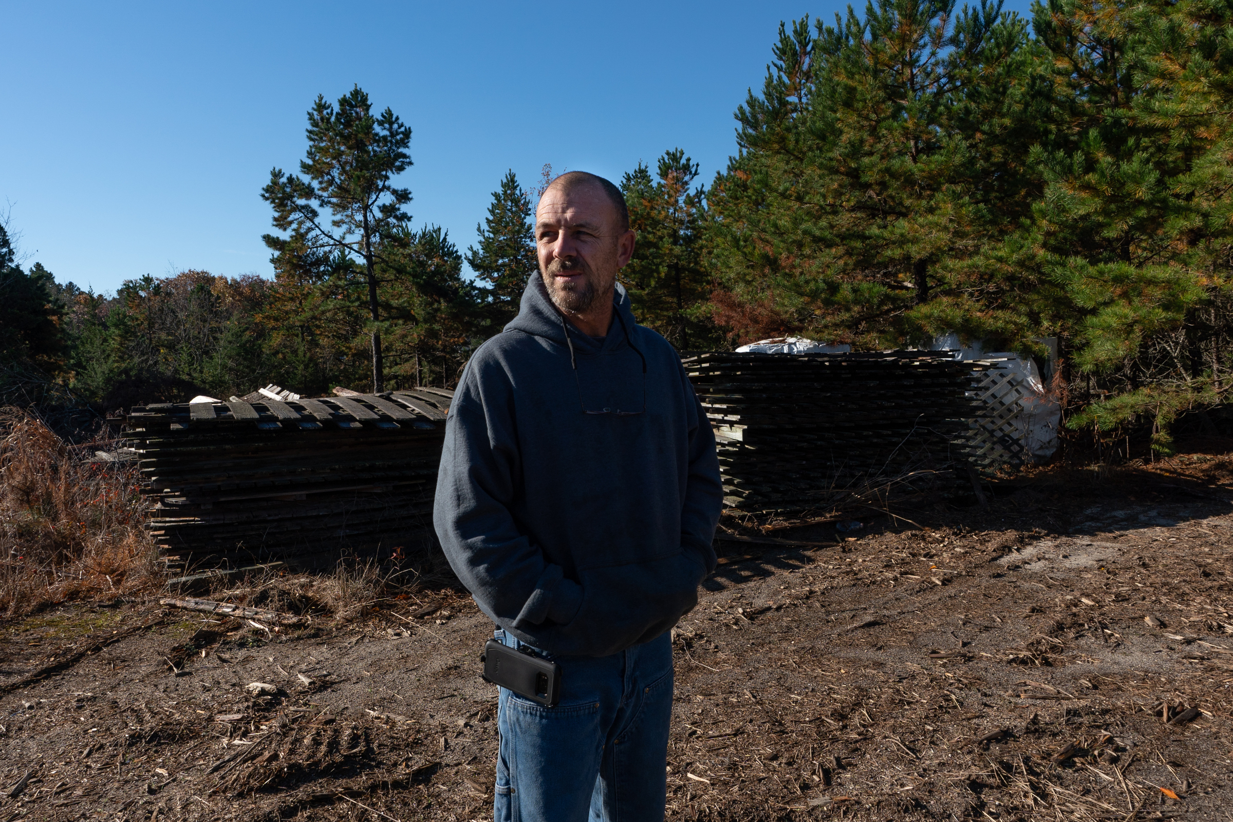Colin McLaughlin walks the grounds near where the new lumber mill will be, in Hammonton, New Jersey, November 7, 2018. JESSICA GRIFFIN / Staff Photographer.