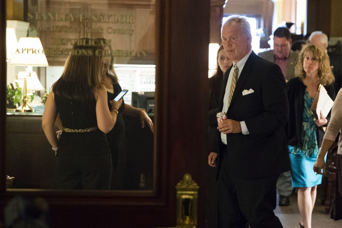 Pennsylvania House Speaker Mike Turzai leaves a committee meeting at the State Capitol.