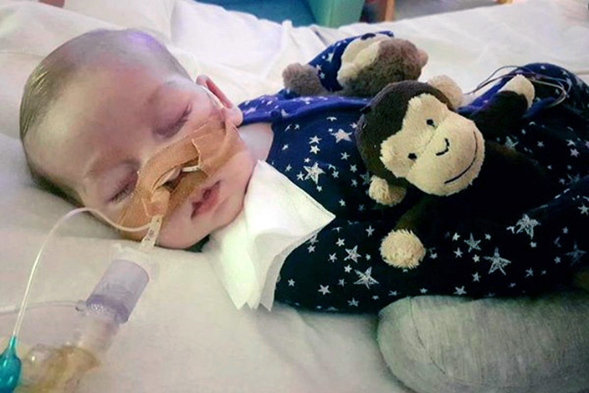 Charlie Gard, at Great Ormond Street Hospital, in London.