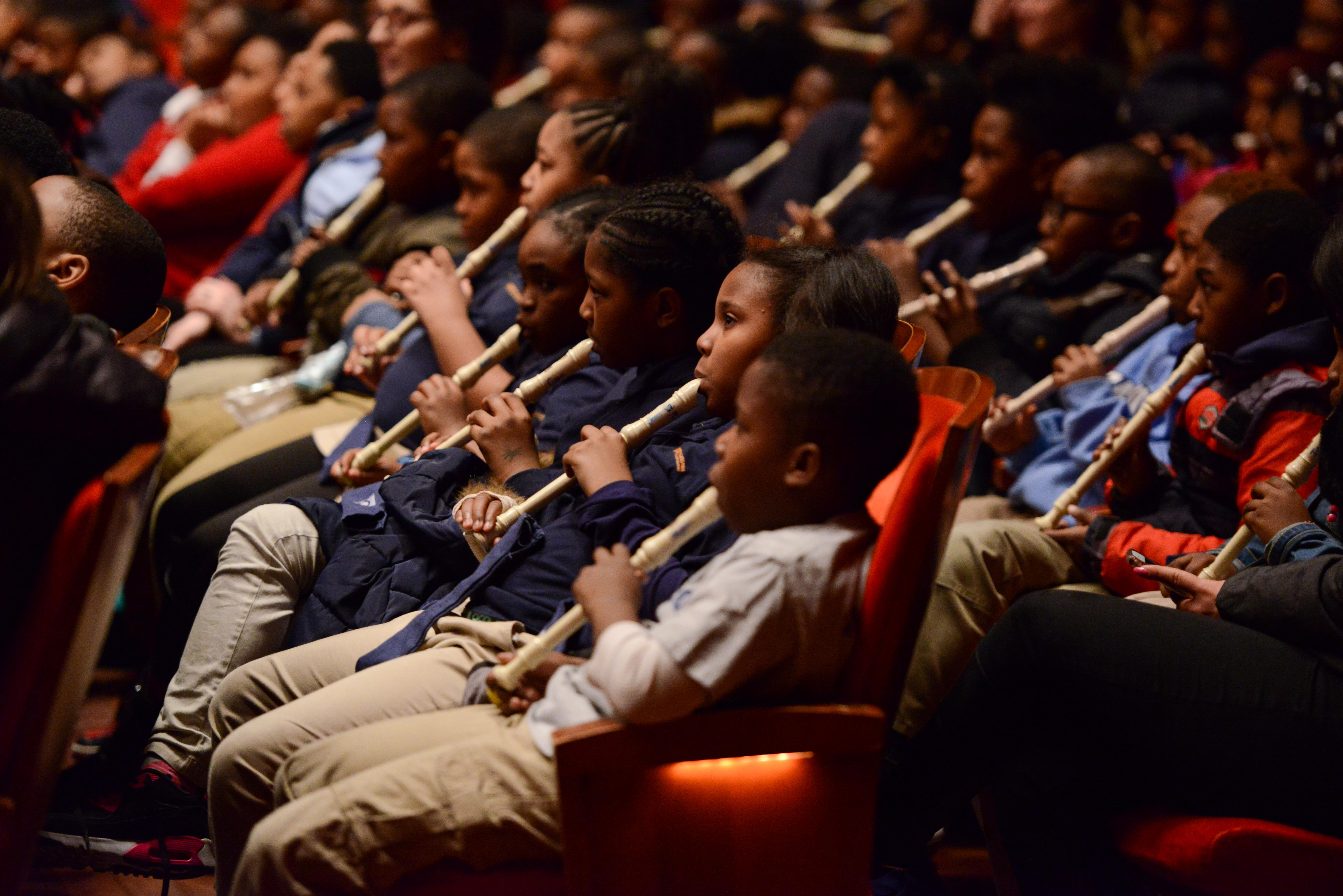 Young listener-participants at a Philadelphia Orchestra concert for schoolchildren at the Kimmel Center.