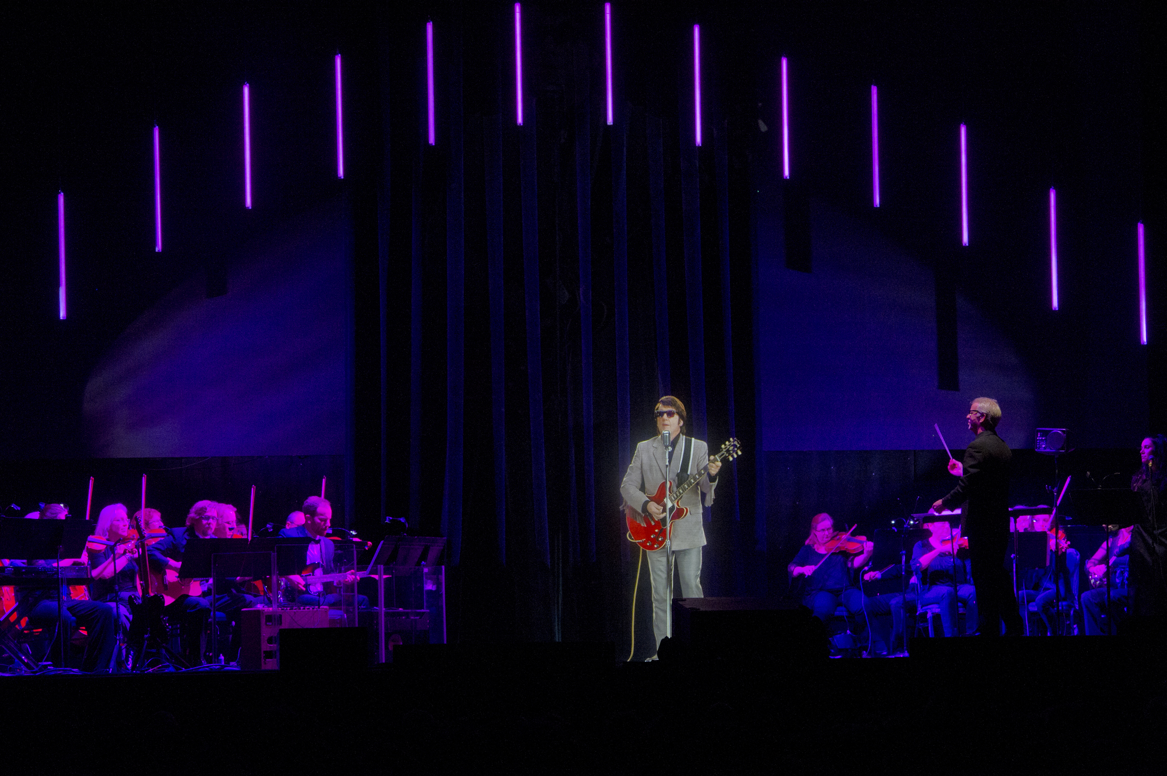Deceased musical artist Roy Orbison appears to be performing with the Philly Pops, during the Roy Orbison Hologram Tour, the first major hologram tour of its kind, in the Xcite Center theater at Parx Casino in Bensalem, PA, November 9, 2018. Avi Steinhardt / For the Inquirer