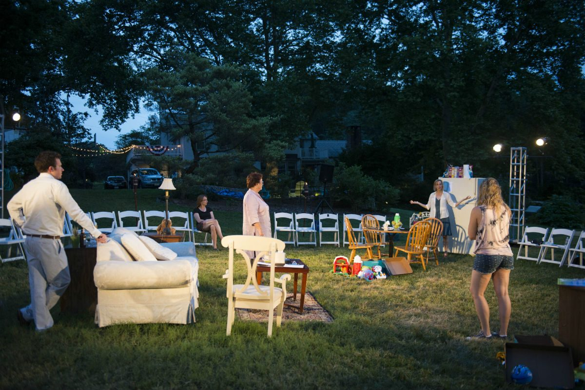"(From left:) Drew Seltzer, Jo Twiss, Nina Covalesky, and Jessica Myhr in ""Rabbit Hole,"" performed outdoors by Theater With a View at Sycamore Hill, Pottstown."