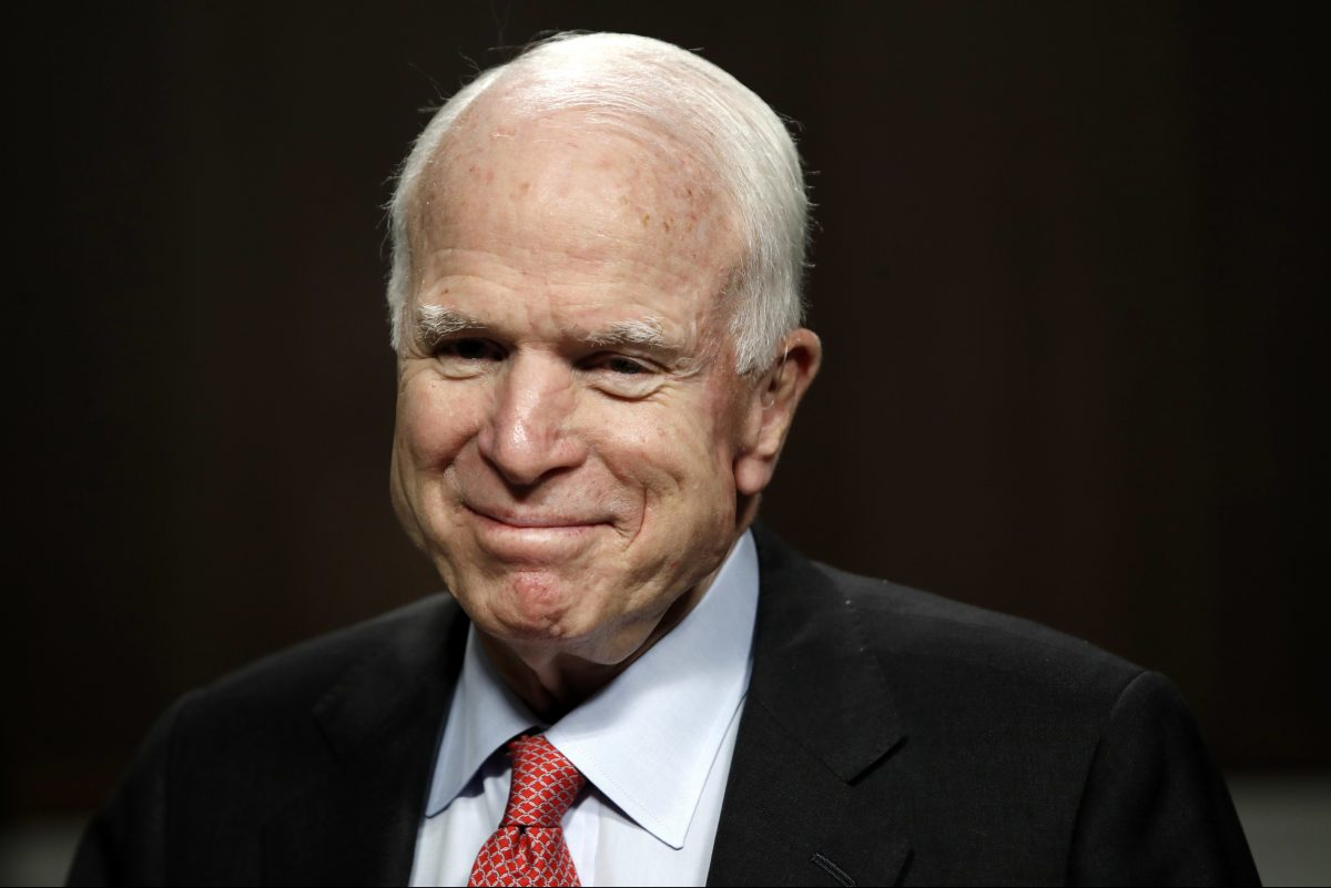 John McCain, chairman of the Senate Armed Services Committee, arrives on Capitol Hill for a hearing on July 11.