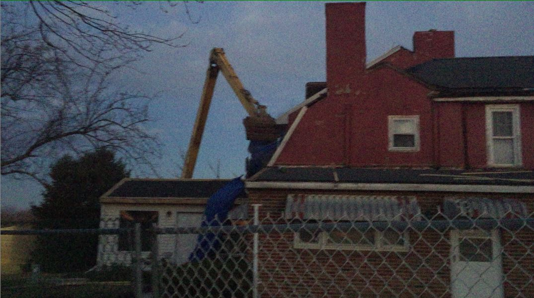 Screen grab from video of March 3, 2017 demolition of the historic Hugg-Harrison-Glover house in Bellmawr, Video obtained through Open Public Records Act request by Eric Escalon and provided to the Inquirer and Daily News.
