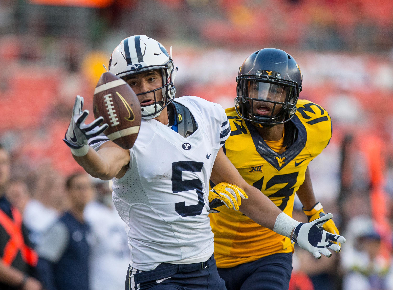 Rasul Douglas, playing for West Virginia, defending against BYU wide receiver Nick Kurtz during a September 2016 game.