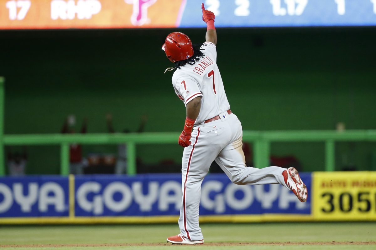 The Phillies´ Maikel Franco celebrates as he rounds second base after hitting a home run  Tuesday in Miami.