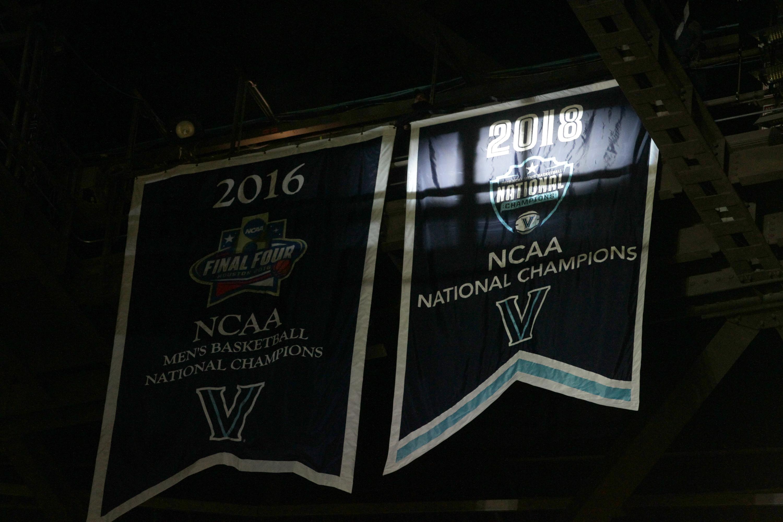 Villanova unveils their championship banner before their game against Quinnipiac at the Wells Fargo Center on Nov. 10, 2018. CHARLES FOX / Staff Photographer