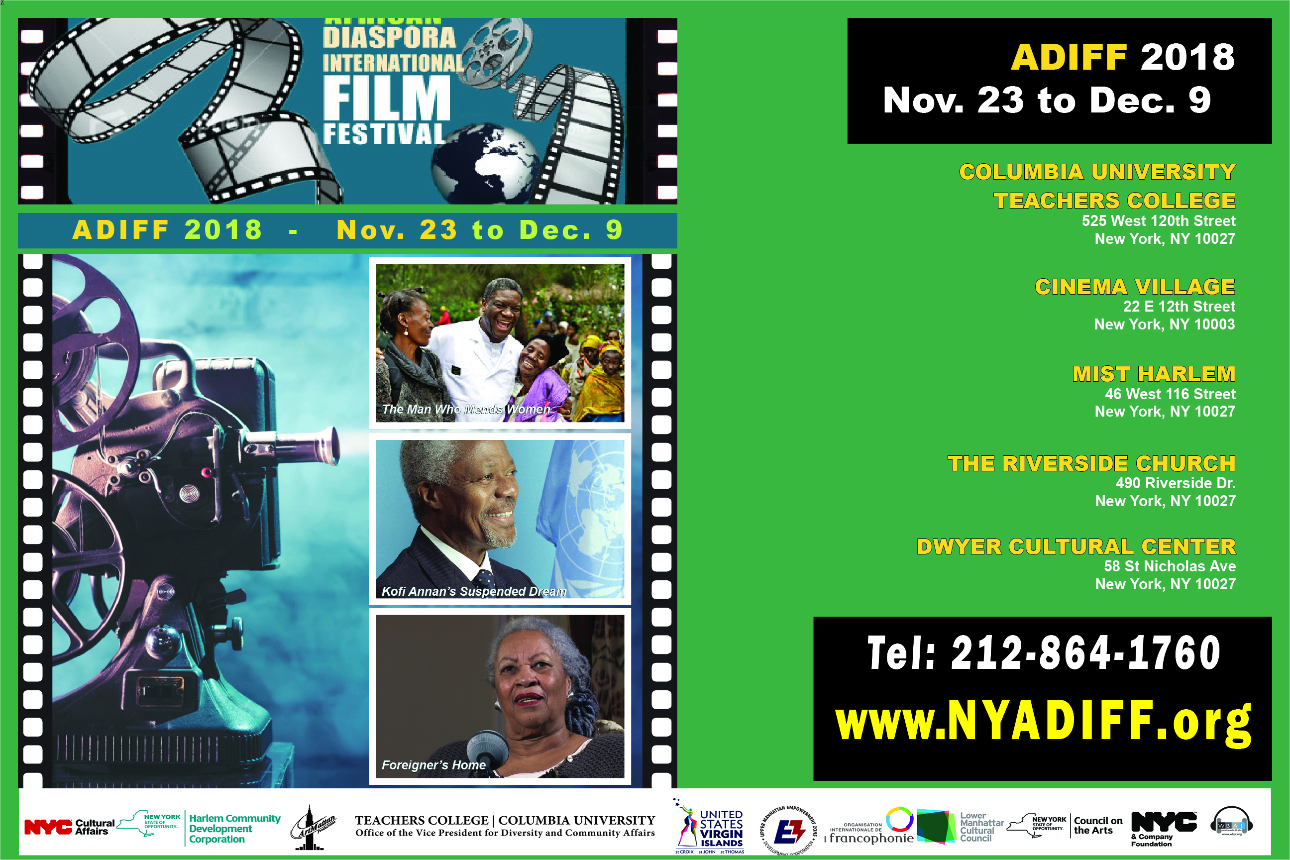 The poster for the ADIFF 2018, the African Diaspora International Film Festival, which goes from Nov. 23 through Dec. 9.