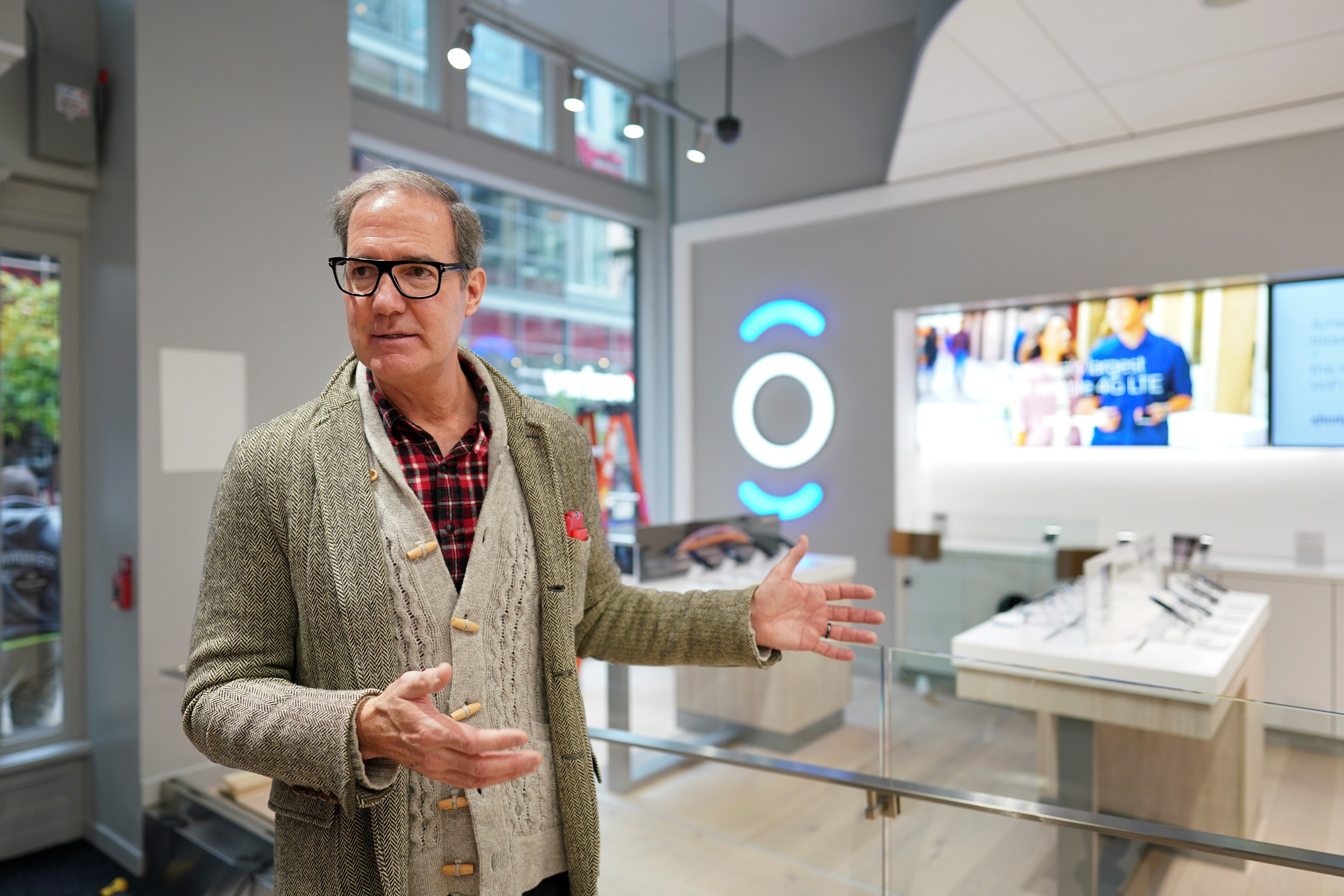 John Giacomazzi, a Comcast Corp. vice president, helped design the new Xfinity stores. He formerly worked on retail store design with Sephora and Nordstrom. He speaks in the new Xfinity store on the 1400 block of Walnut Street.