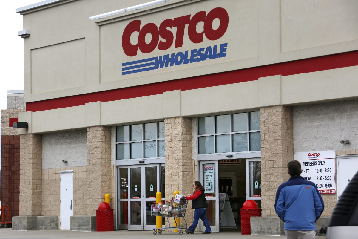 A shopper leaves a Costco store in Cranberry Township, Pa.