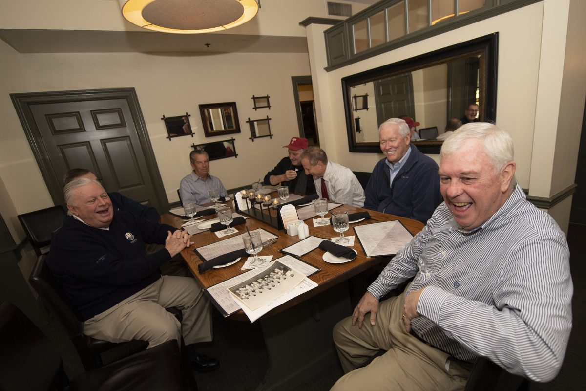 From left, Mike Schanne, Russ Hendricks, Brian Smyth, Denis Dunphy, Bud Tosti, Jim Stewart and Gerry Collins gathered for lunch to reminisce on the annual Thanksgiving Day Drexel Hill football rivalry between St. DotÍs and St. BernieÍs. The Meeting took place at the Lamb Tavern in Springfield, PA. Thursday, November 8, 2018.