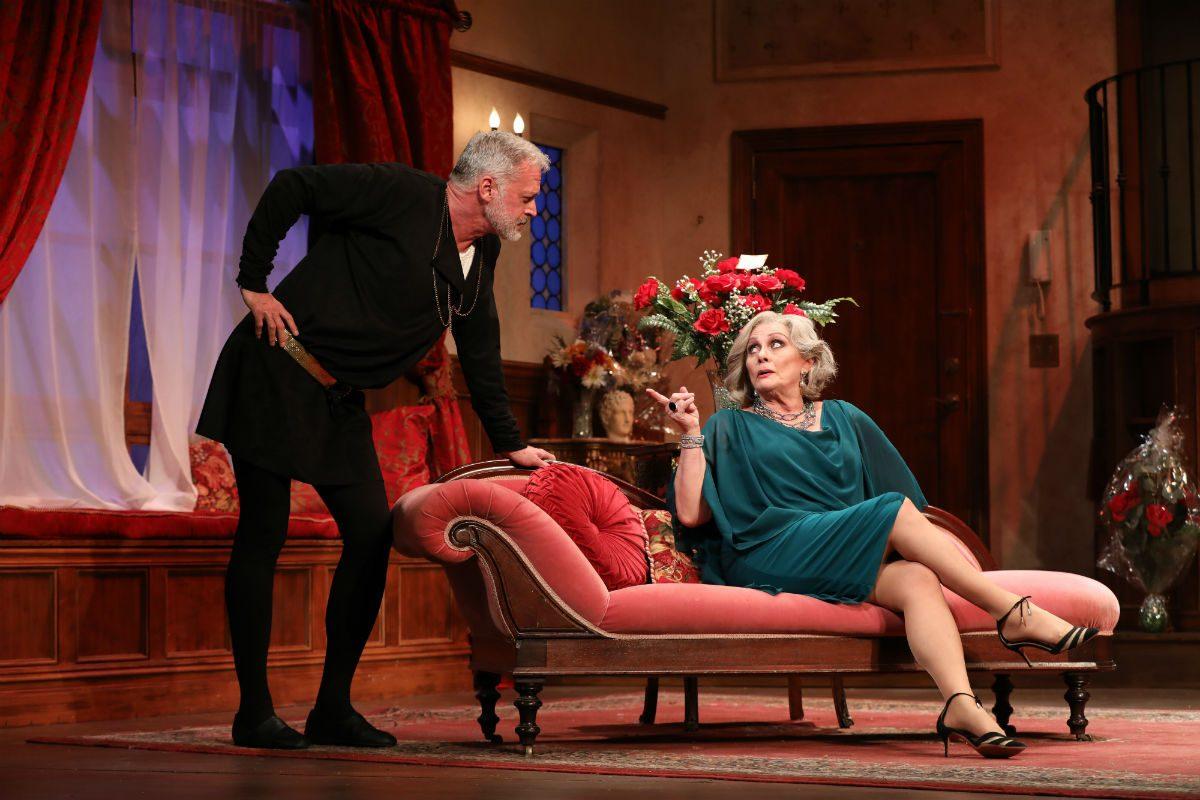 "Tom Hewitt and Elizabeth Ashley in ""I Hate Hamlet,"" through Dec. 1 at the Bucks County Playhouse."