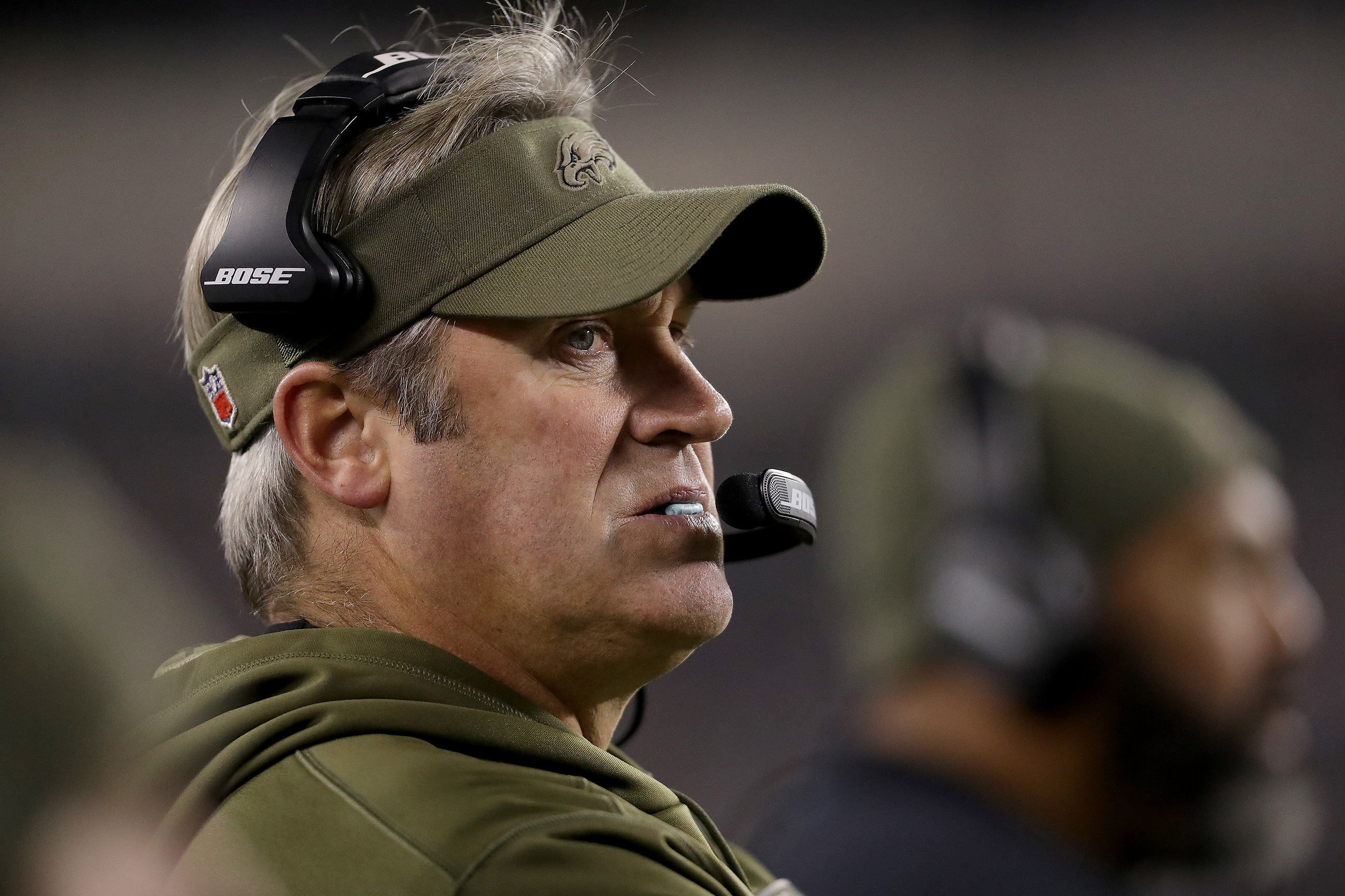 Eagles head coach Doug Pederson watches as the Cowboys drive down the field in the 4th quarter. Eagles lose 27-20 to the Dallas Cowboys at Lincoln Financial Field in Philadelphia, PA on November 11, 2018.