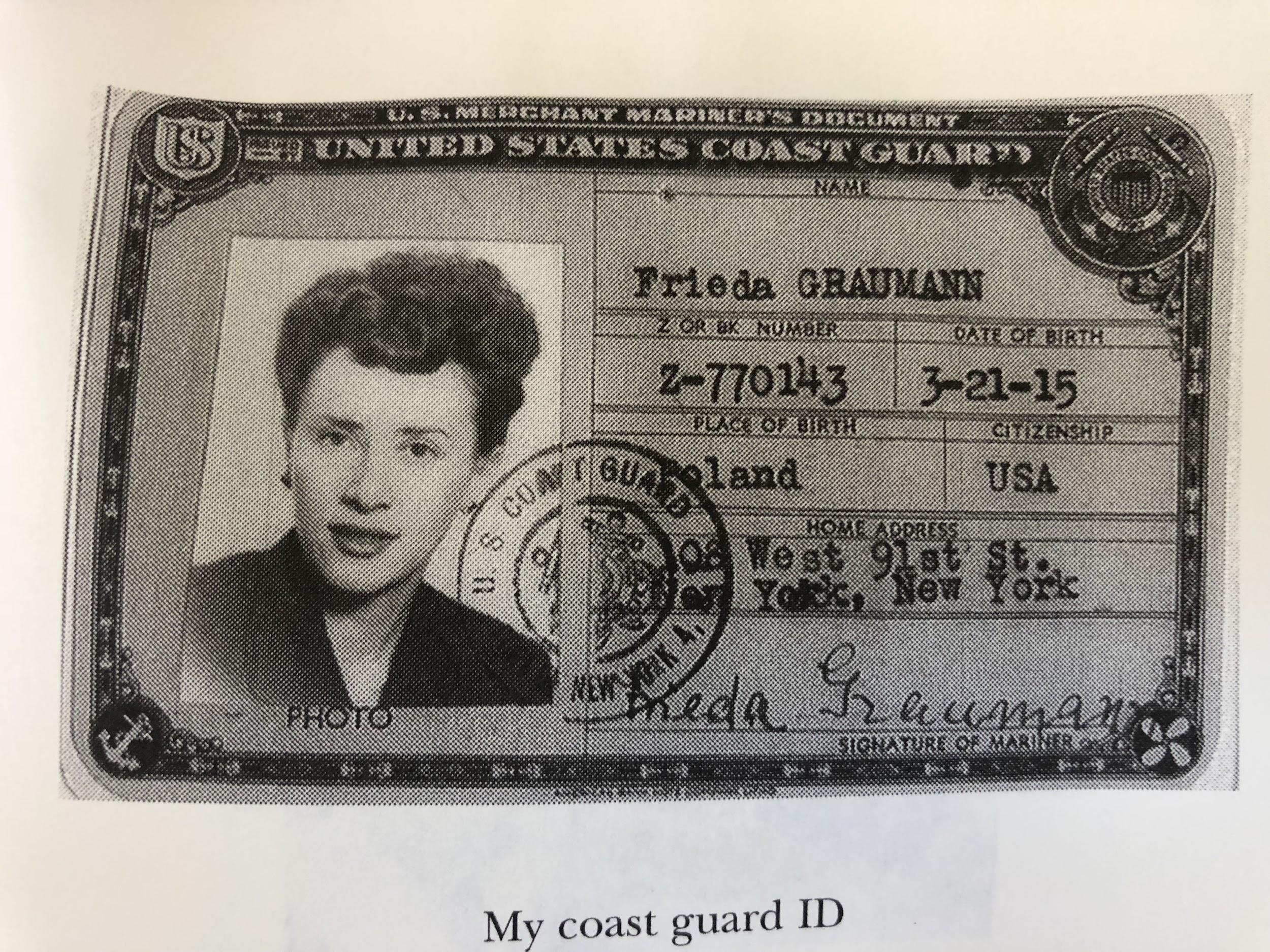 Frieda Lefeber Coast Guard ID from 1946.
