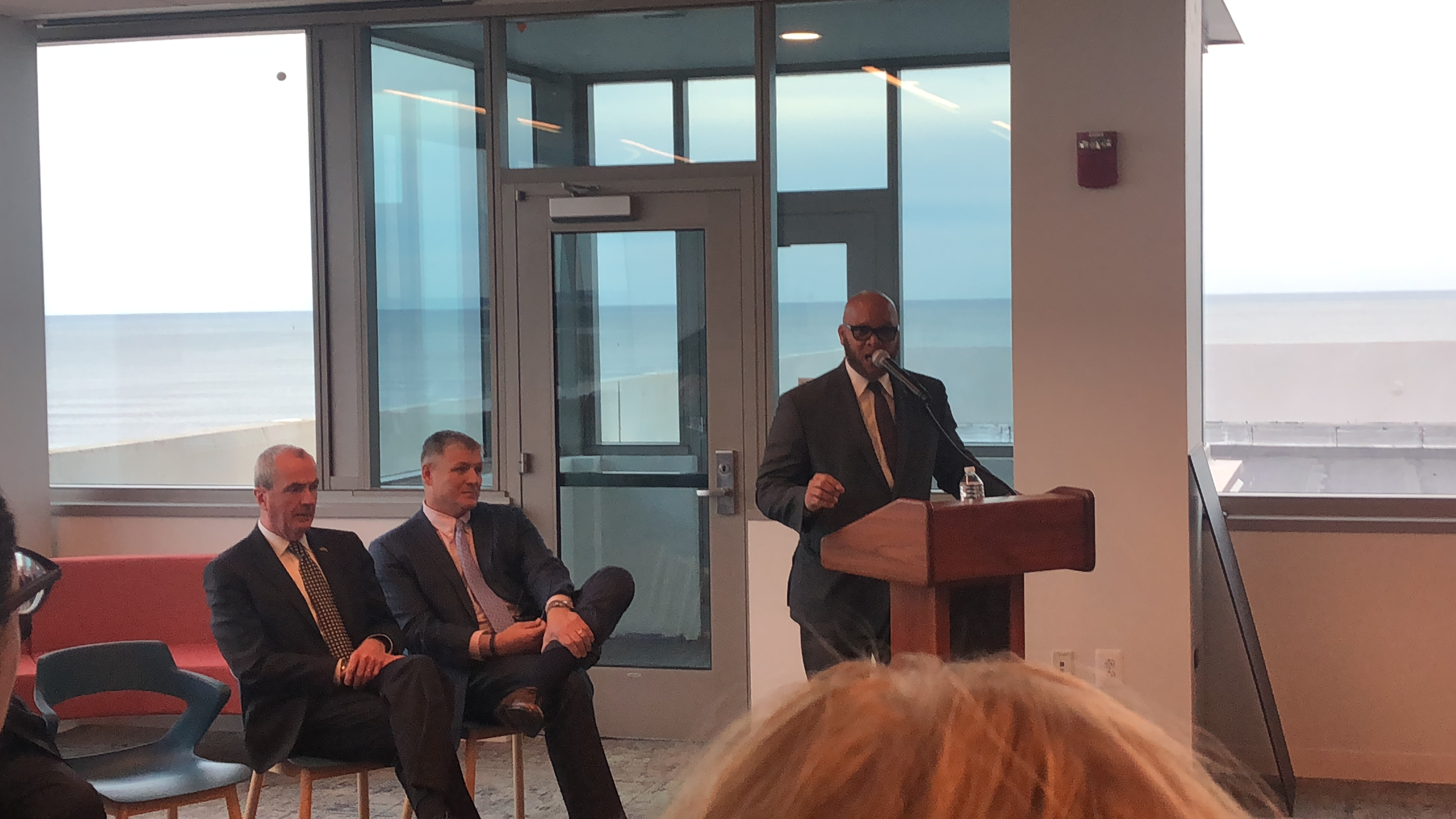 Mayor Frank Gilliam speaks at a ribbon cutting for South Jersey Gas headquarters in Atlantic City. At left is Gov. Murphy. There was no discussion of the casino fistfight that left Gilliam with a black eye and under investigation by the Cape May County Prosecutor´s office.
