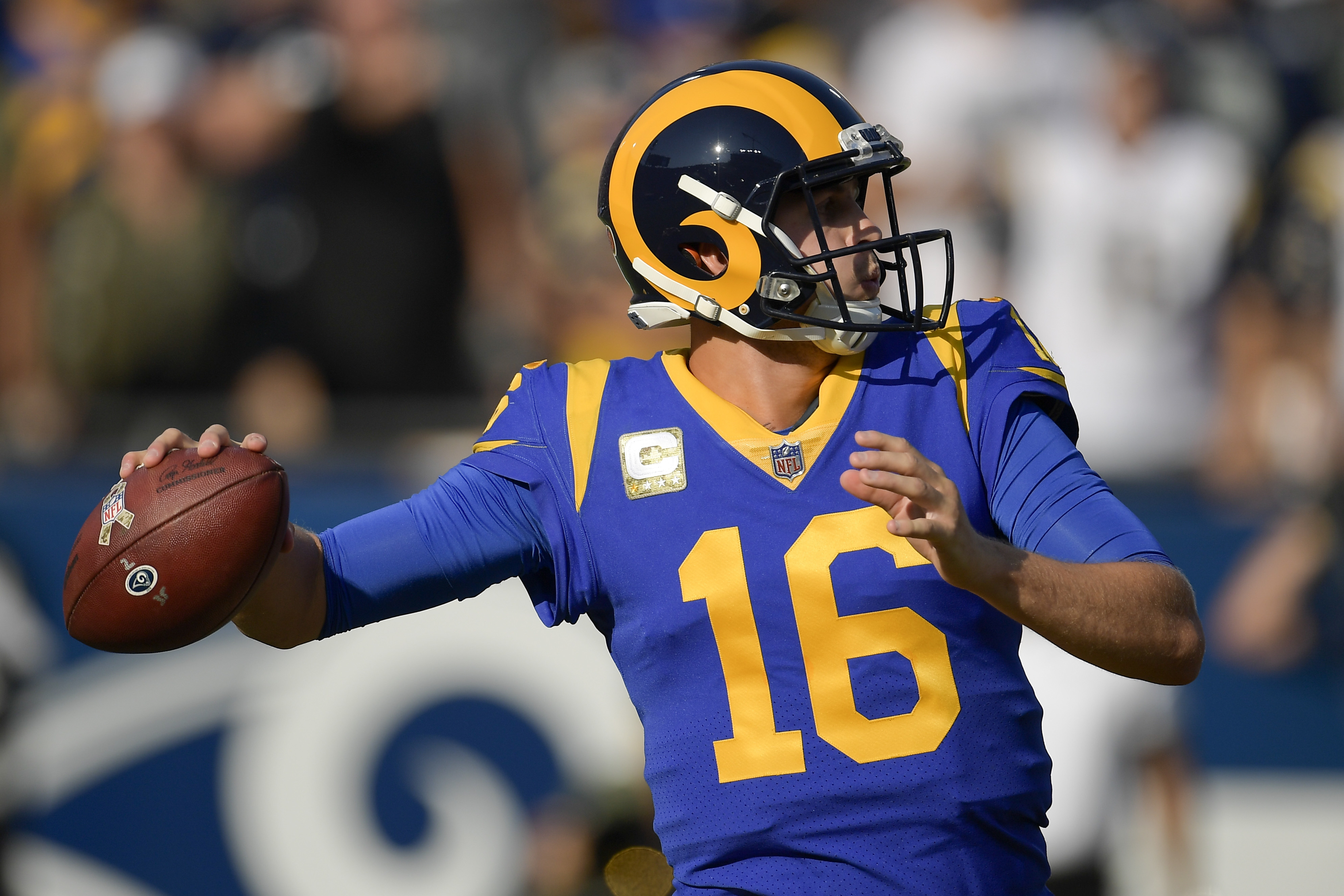 Jared Goff and the Rams wore their throwbacks this past weekend.
