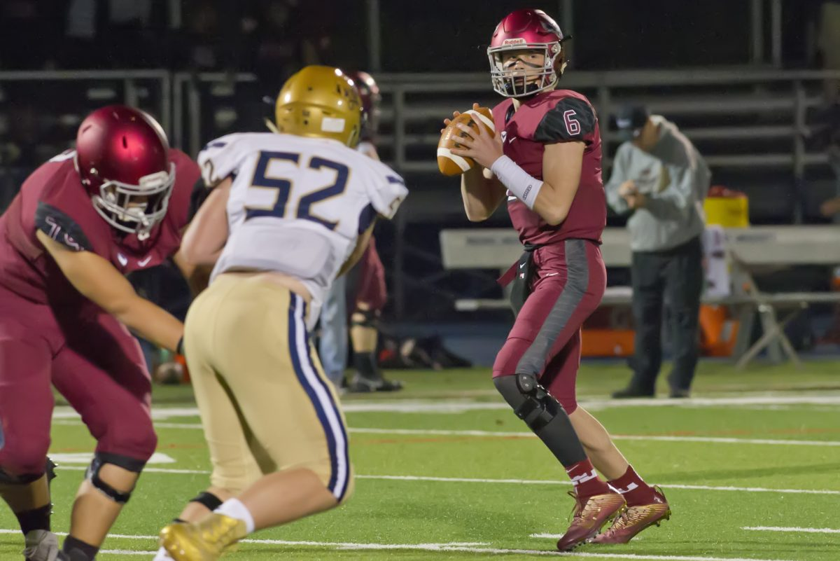St. Joseph's Prep QB Kyle McCord looks to pass in a 49-12 win over Catholic League Red Division rival La Salle on Sept. 28.