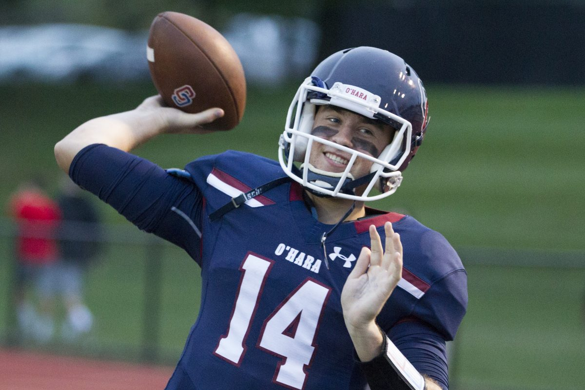 Cardinal O'Hara senior quarterback Luke Sprague (14) has thrown for 811 yards and seven touchdowns.