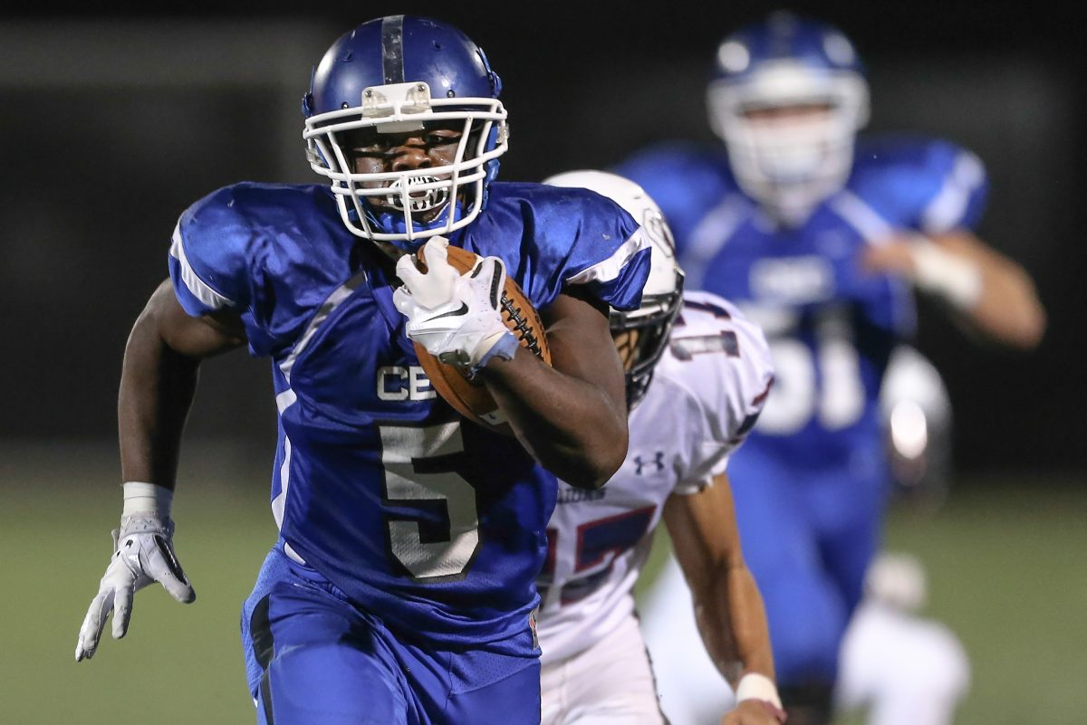 Conwell-Egan's Patrick Garwo (5) is closing in on 2,000 rushing yards for the season.