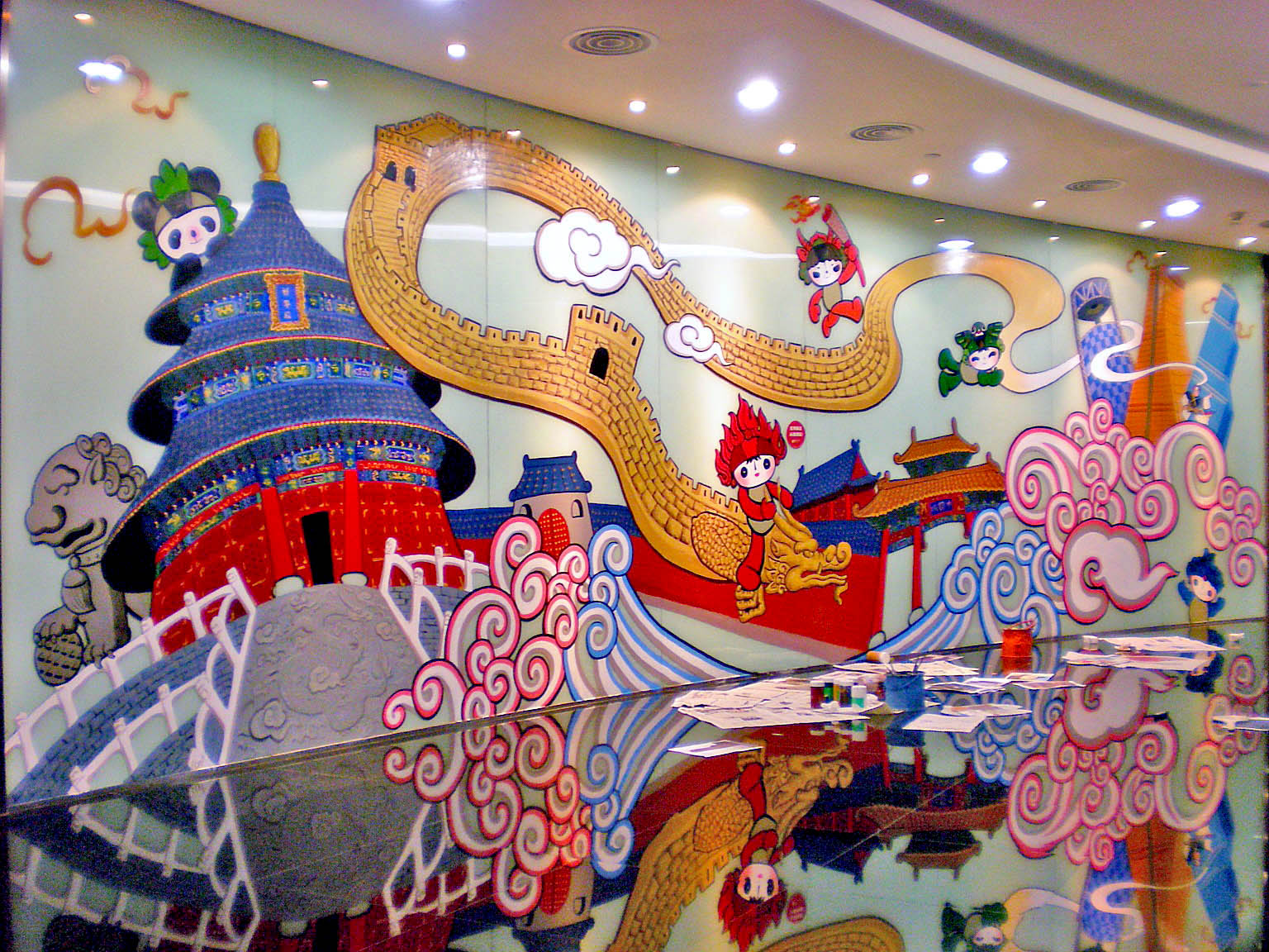 Chenlin Cai´s mural for the Korean Cultural Center in Beijing for the 2008 Beijing Olympics.