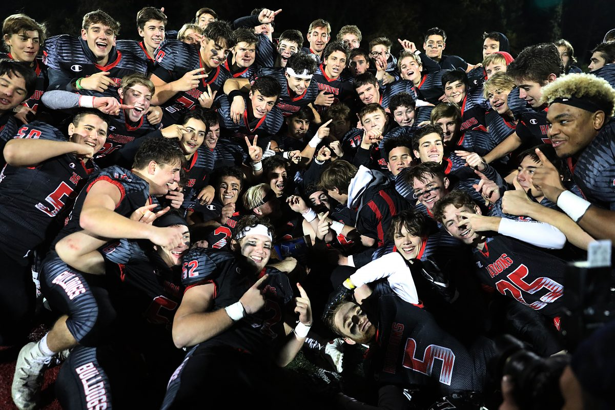 Haddonfield players celebrate South Jersey Group 2 title.