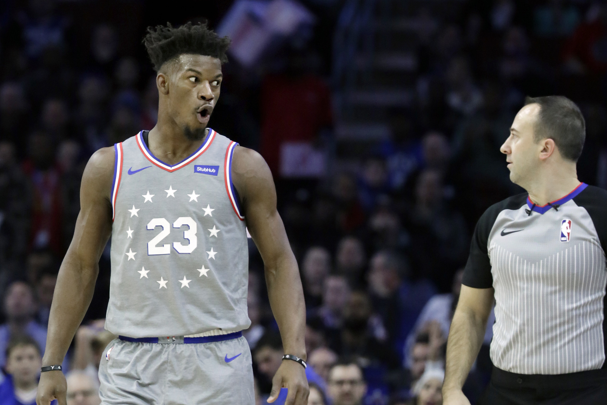 Sixers guard Jimmy Butler reacts after being charged with goaltending during the Utah Jazz vs. Philadelphia 76ers NBA game at the Wells Fargo Center in Phila., Pa. on November 16, 2018.