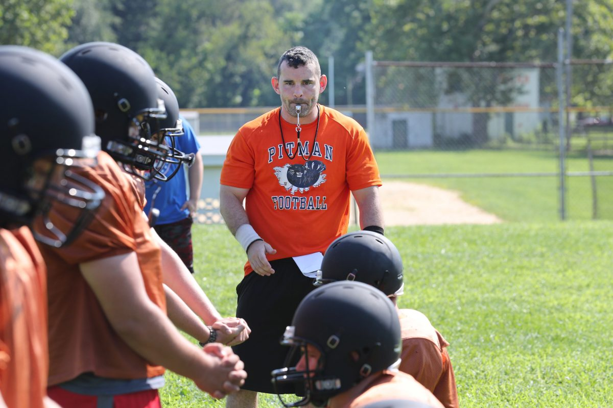 Pitman football coach Chris Thomas at a practice in the summer of 2017, when the Panthers had just 16 players, nine of whom were freshmen.