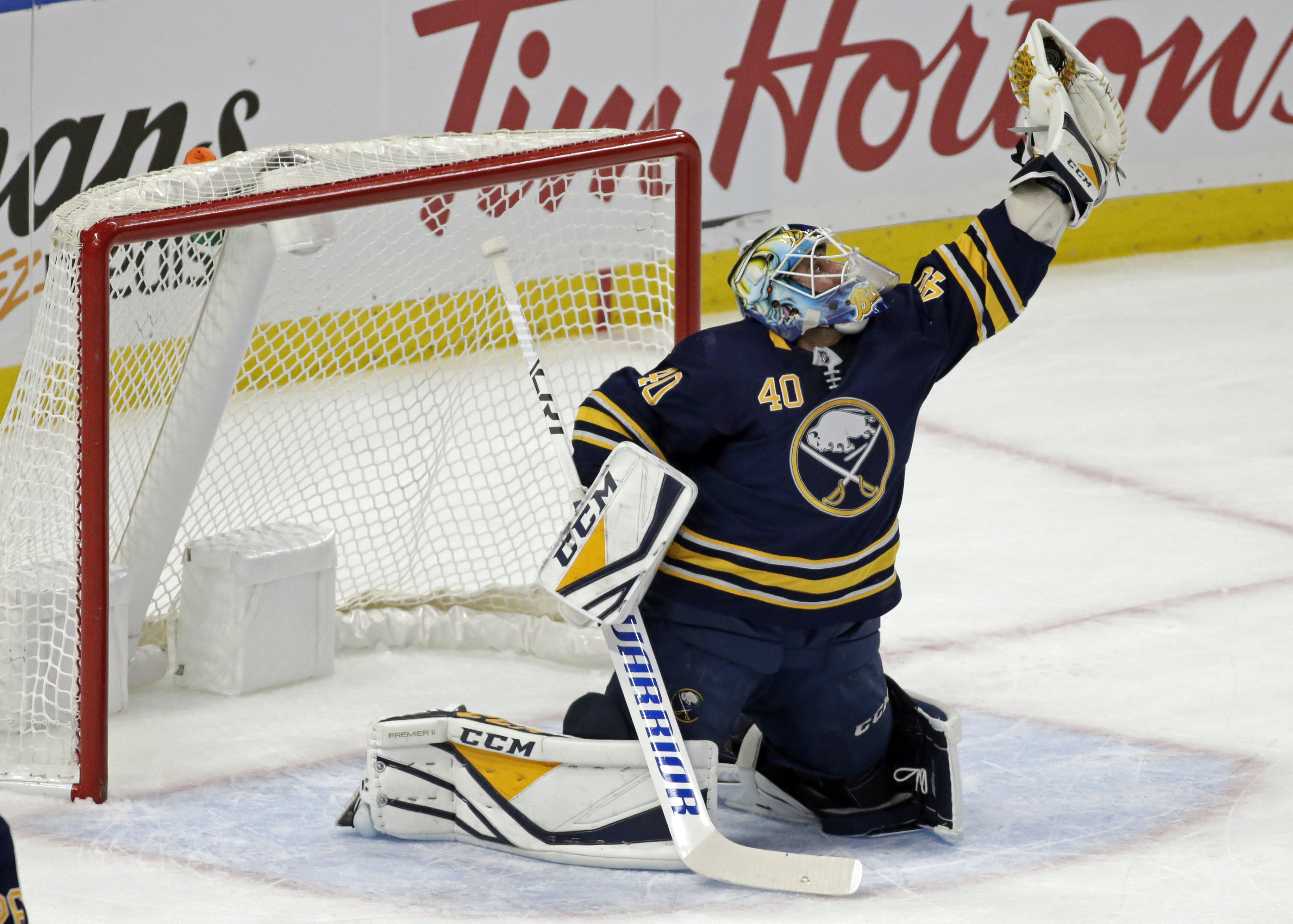 Carter Hutton has been strong in goal for the Sabres.