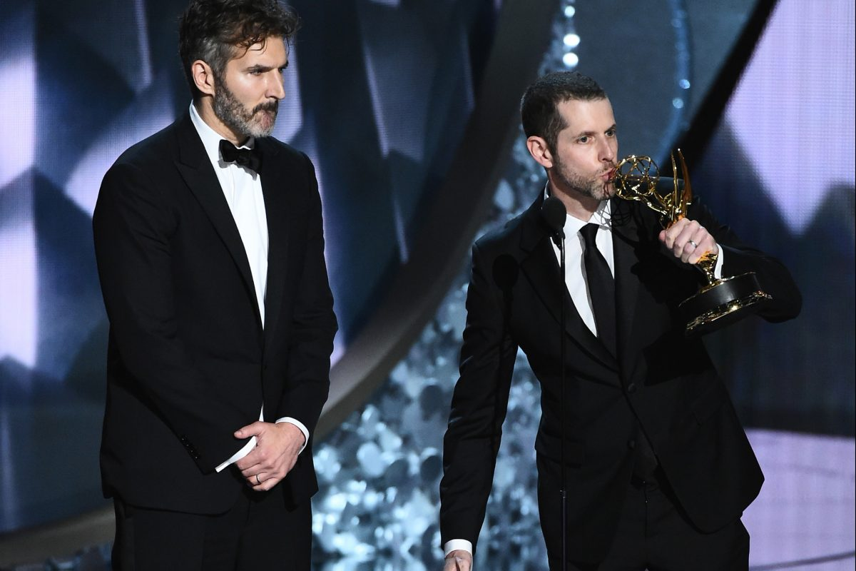 """Game of Thrones"" creators David Benioff and D.B. Weiss at the 68th Primetime Emmy Awards in September."