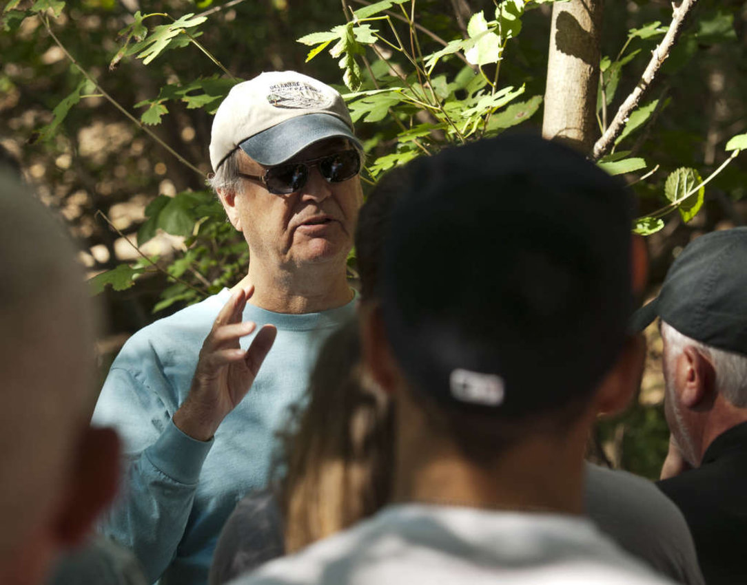 Bob Shinn, a Cherry Hill resident who is writing a book about Petty´s Island, leading a tour there in 2014,