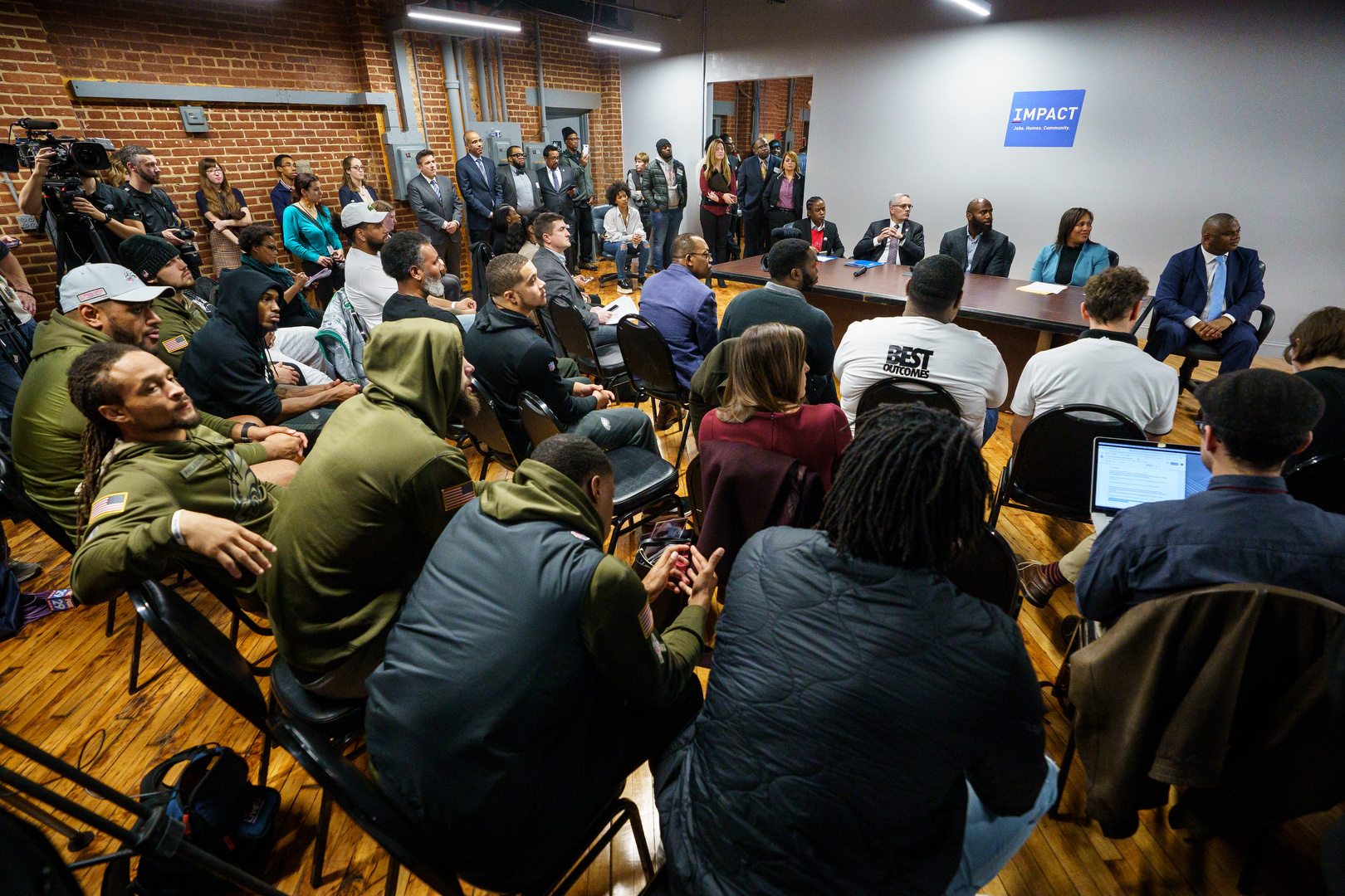 Philadelphia District Attorney Larry Krasner, second from left, Players Coalition Co-Founder and Philadelphia Eagles Safety Malcolm Jenkins, center, and Philadelphia Chief Defender Keir Bradford-Grey host a press conference to address the injustices with the money bail system in Philadelphia, November 26, 2018.