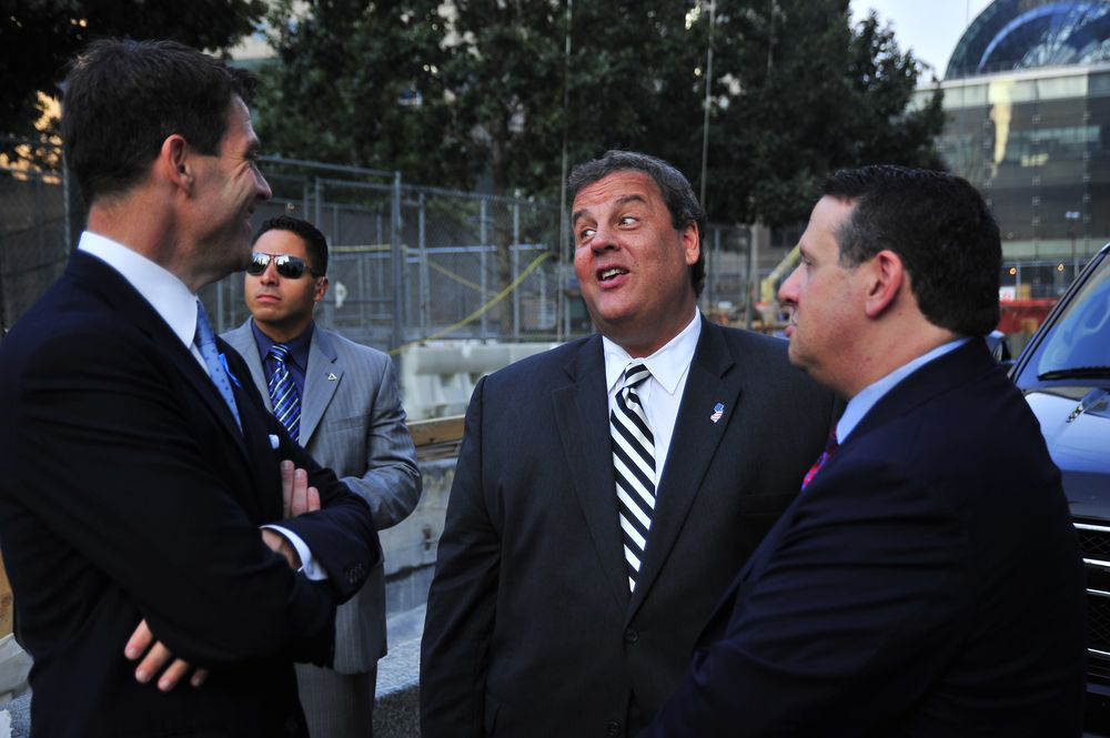 Bill Baroni, left, and David Wildstein, right, meet with Gov. Chris Christie in September 2013. The government presented the photo as evidence in Baroni´s criminal trial.