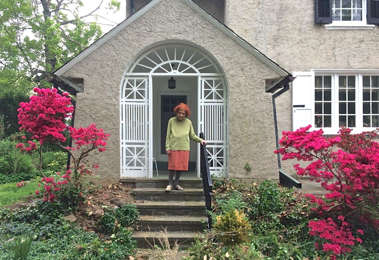Victoria Donohoe in front of her home in historic Narbrook Park, Narberth.