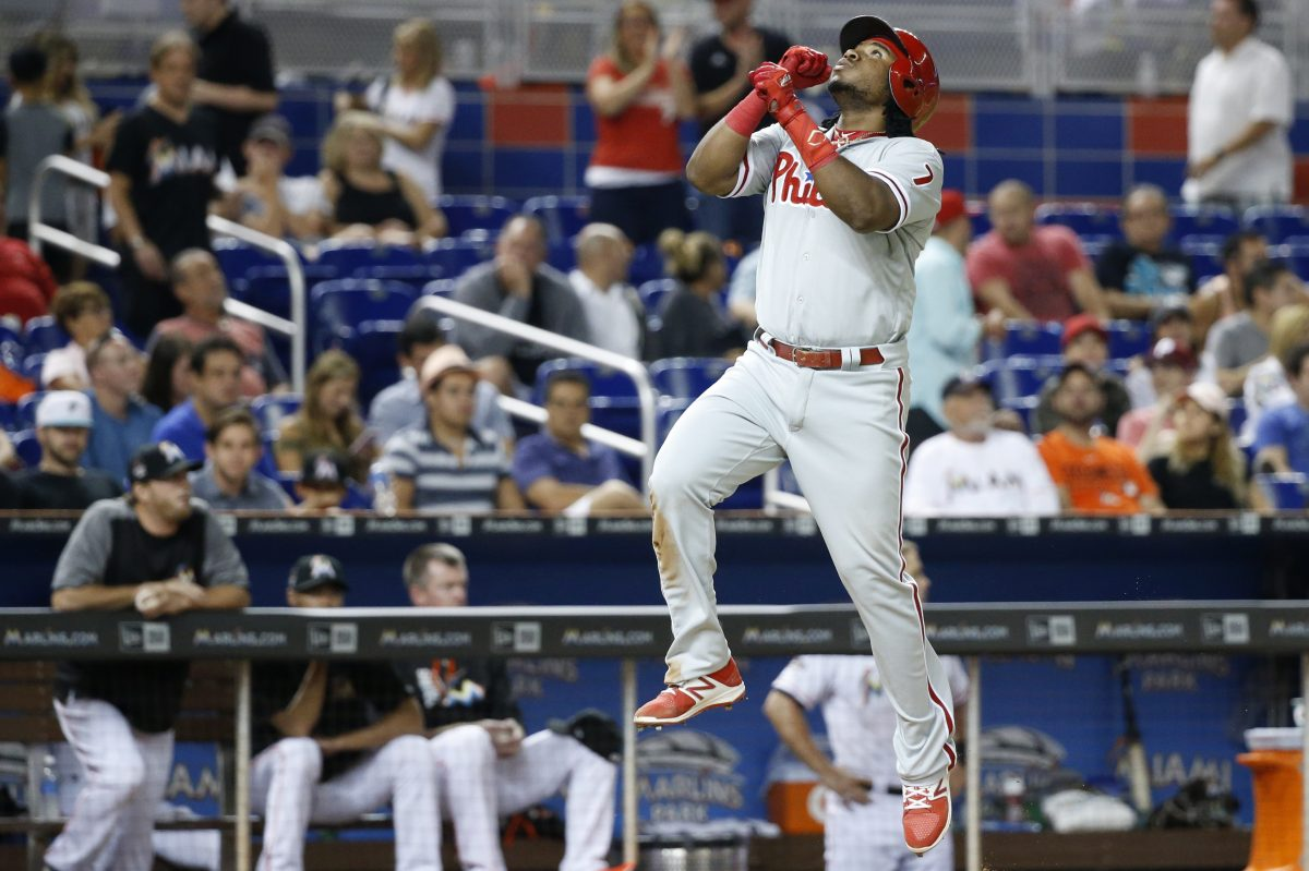 Phillies third baseman Maikel Franco leaps in the air to celebrate hitting a home run in the eighth inning of the Phillies' 5-2 victory over the Marlins on Tuesday.