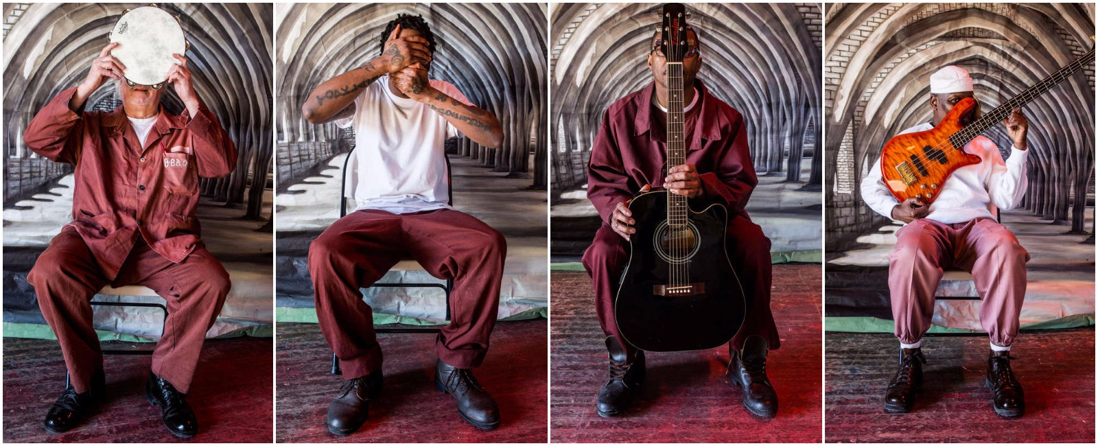 Inmates at the State Correctional Institution, Graterford, participating in the Songs in the Key of Free program, were allowed to sit for a portrait but not to show their faces, per state prison rules.