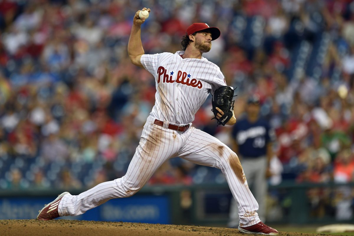 Phillies starting pitcher Aaron Nola throws during the third inning of the Phillies 6-1 lead over the Brewers.