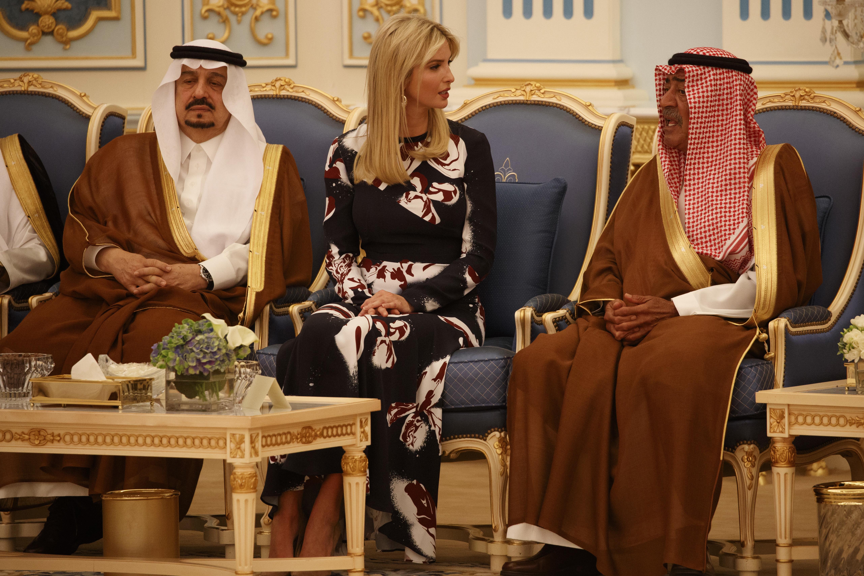 Ivanka Trump participates in a presentation ceremony of The Collar of Abdulaziz Al Saud Medal to President Donald Trump at the Royal Court Palace, Saturday, May 20, 2017, in Riyadh. (AP Photo/Evan Vucci)