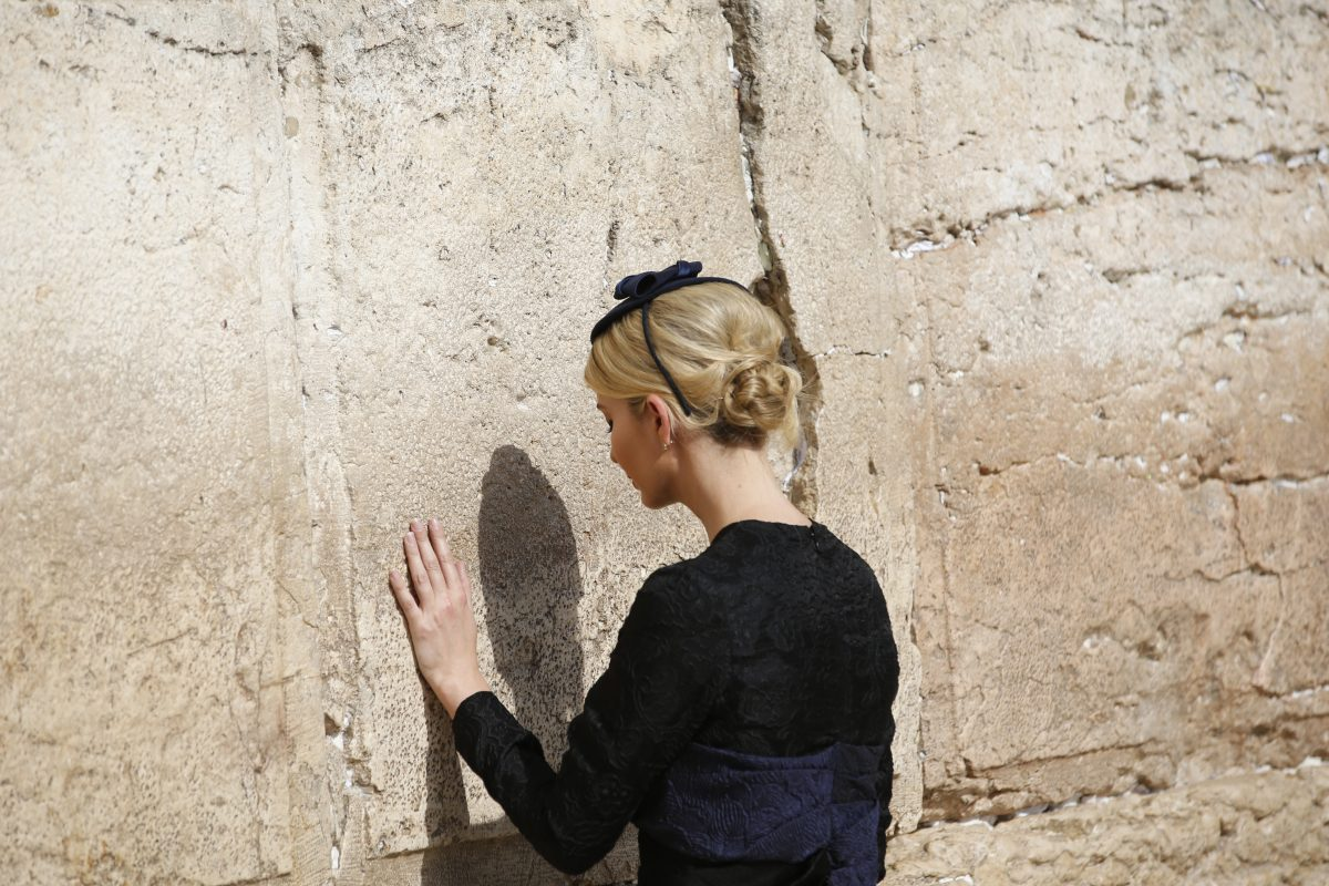 Ivanka Trump touches the Western Wall, Judaism's holiest prayer site, in Jerusalem´s Old City Monday,May 22, 2017. (Ronen Zvulun, Reuters Pool via AP)