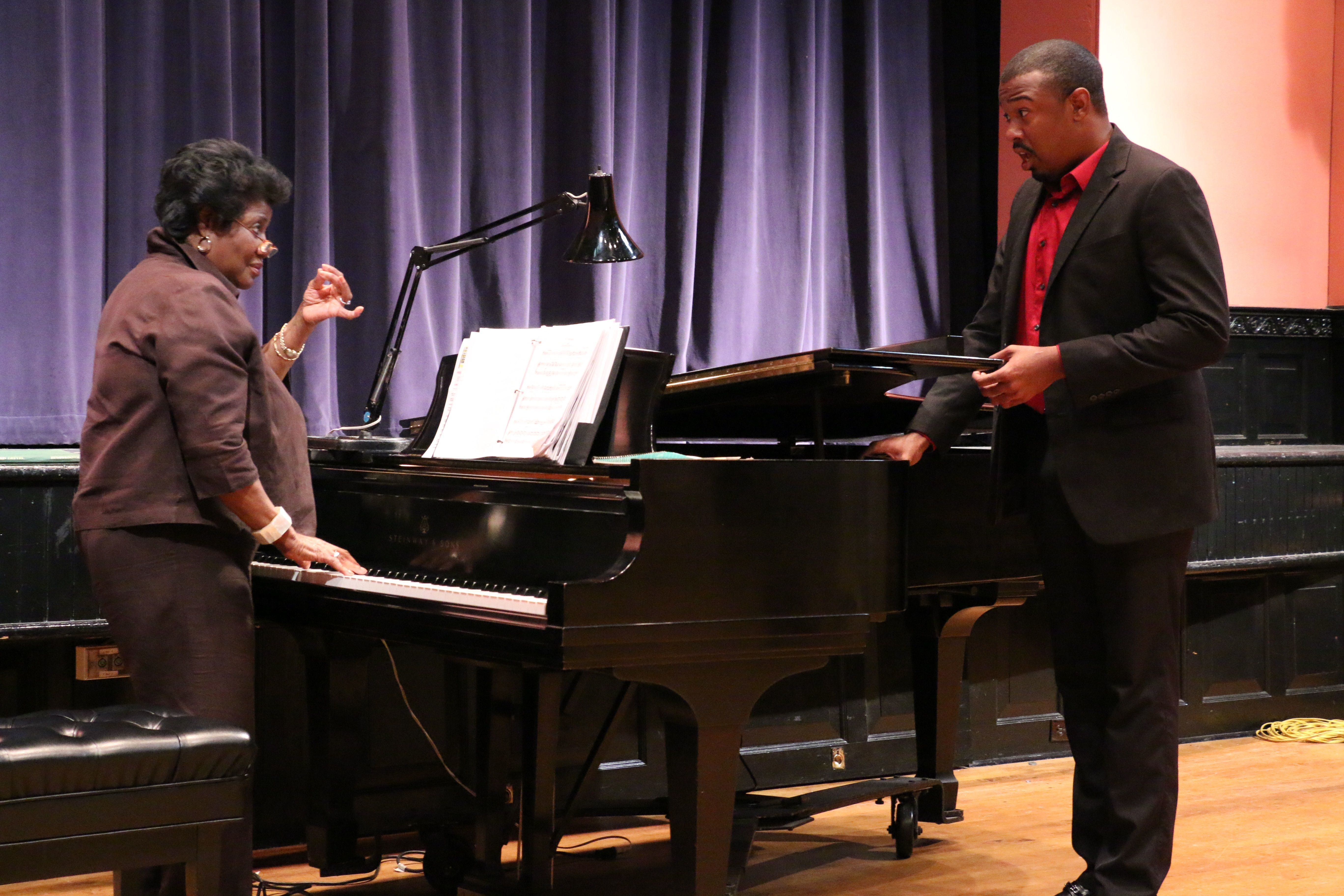Mezzo-soprano Florence Quivar works with bass-baritone Brenton Mattox during the 2016 Russian Opera Workshop. She returns for another masterclass this summer.