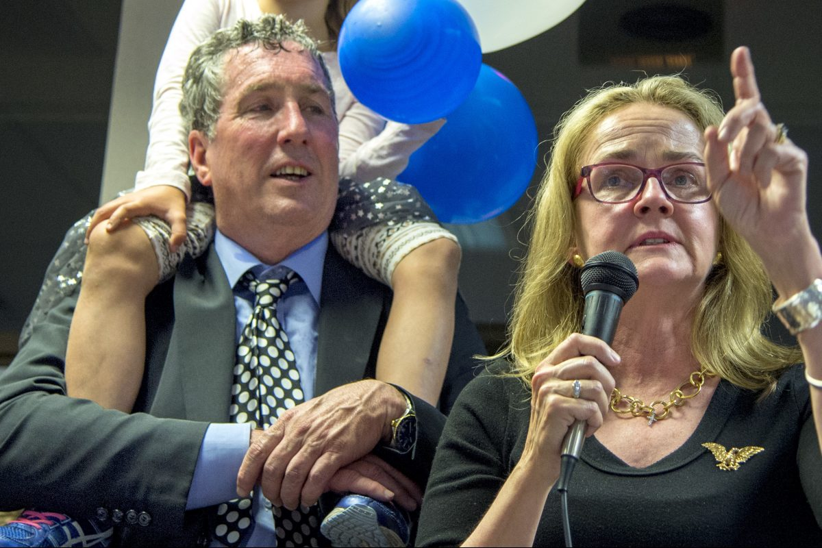 Veteran bicycle wholesaler-importer Patrick J. Cunnane, with wife  Madeleine Dean. His company, Advanced Sports, filed for bankruptcy protection soon after her November election to Congress. TOM GRALISH / Staff Photographer