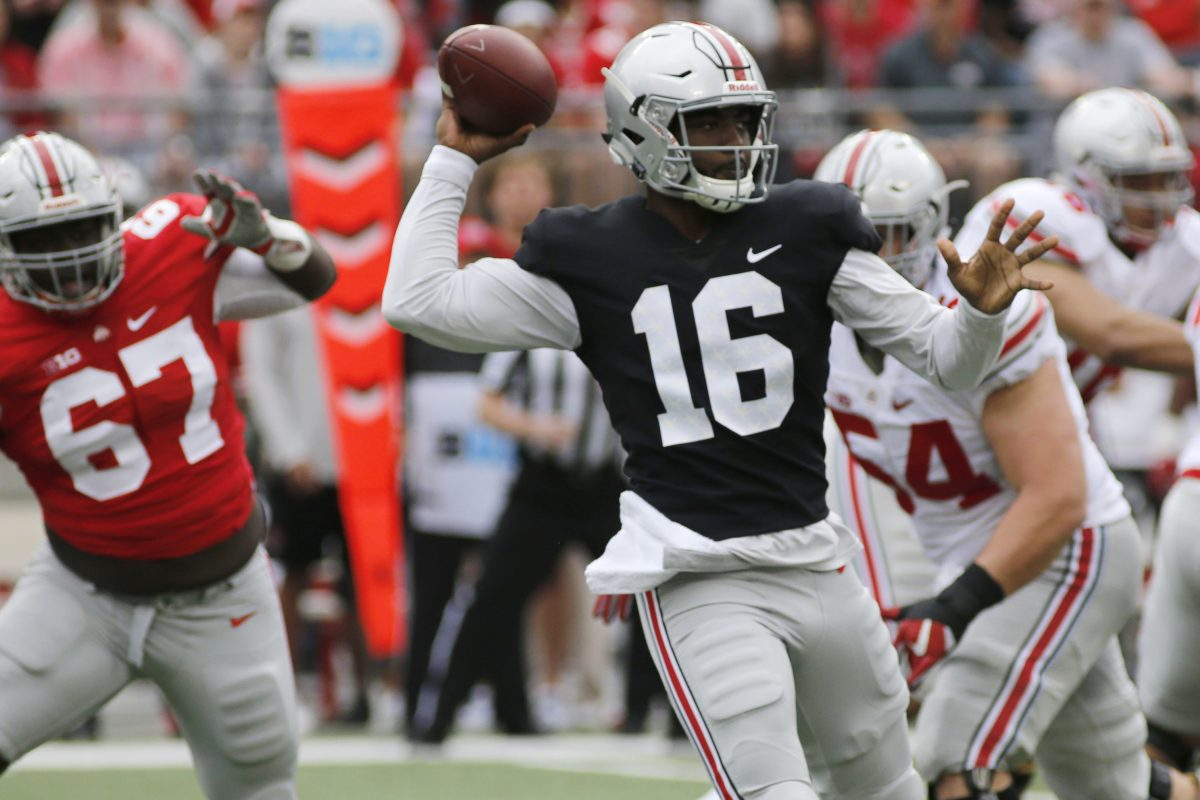 Quarterback J.T. Barrett  during Ohio State's spring game.  The fifth-year senior holds the keys for the Buckeyes.