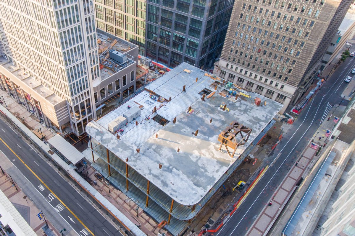 Overhead photo of East Market project, with Stephen Girard Building at upper right.