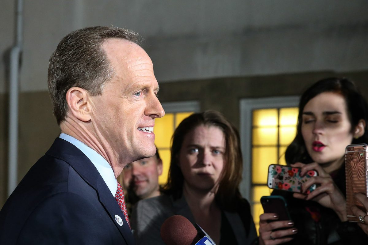 U.S. Sen. Pat Toomey, shown on Election Day last year, has introduced a provision to cap Medicaid growth at the rate of inflation.