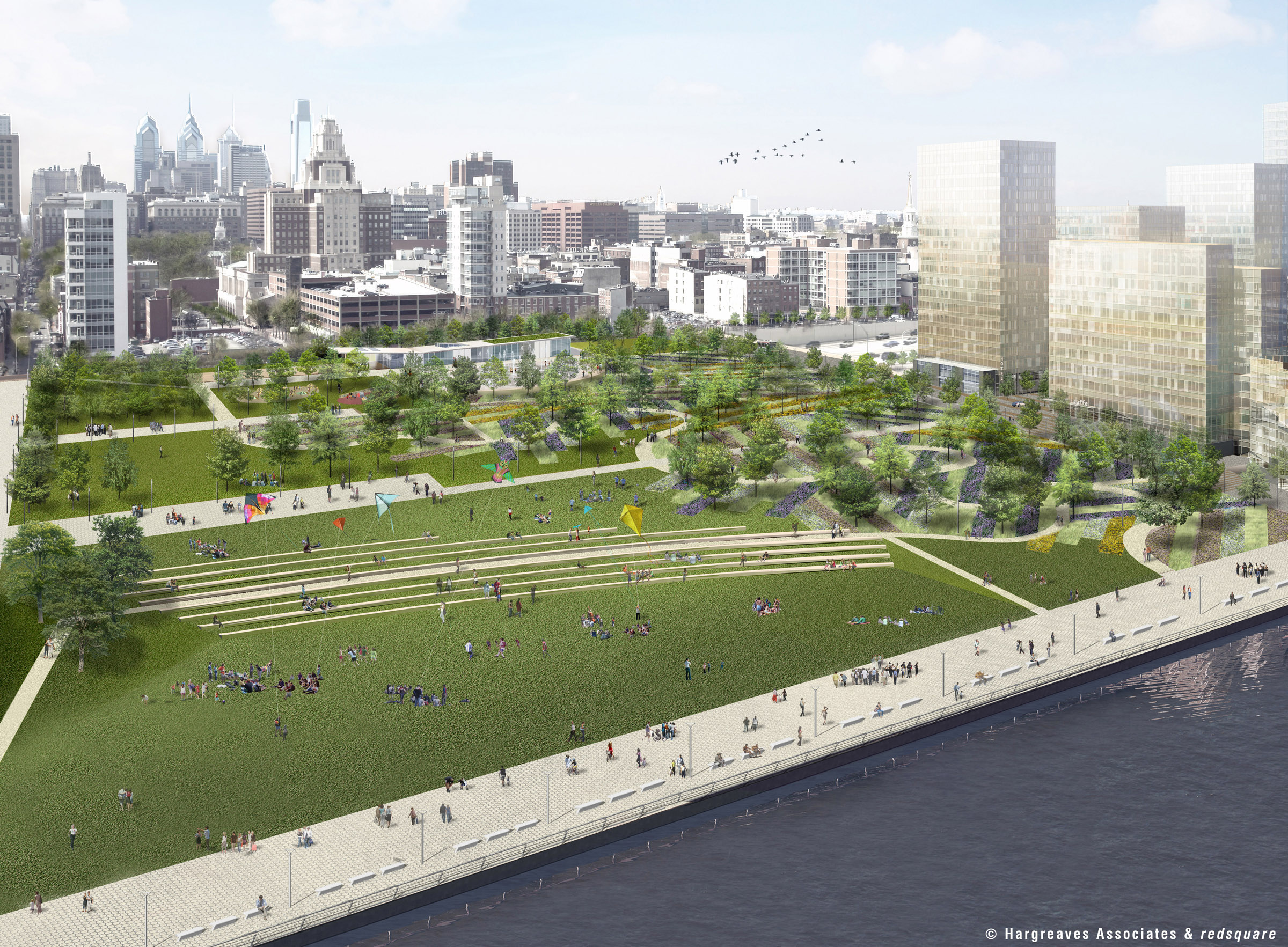 Rendering of waterfront park planned for Delaware Waterfront.