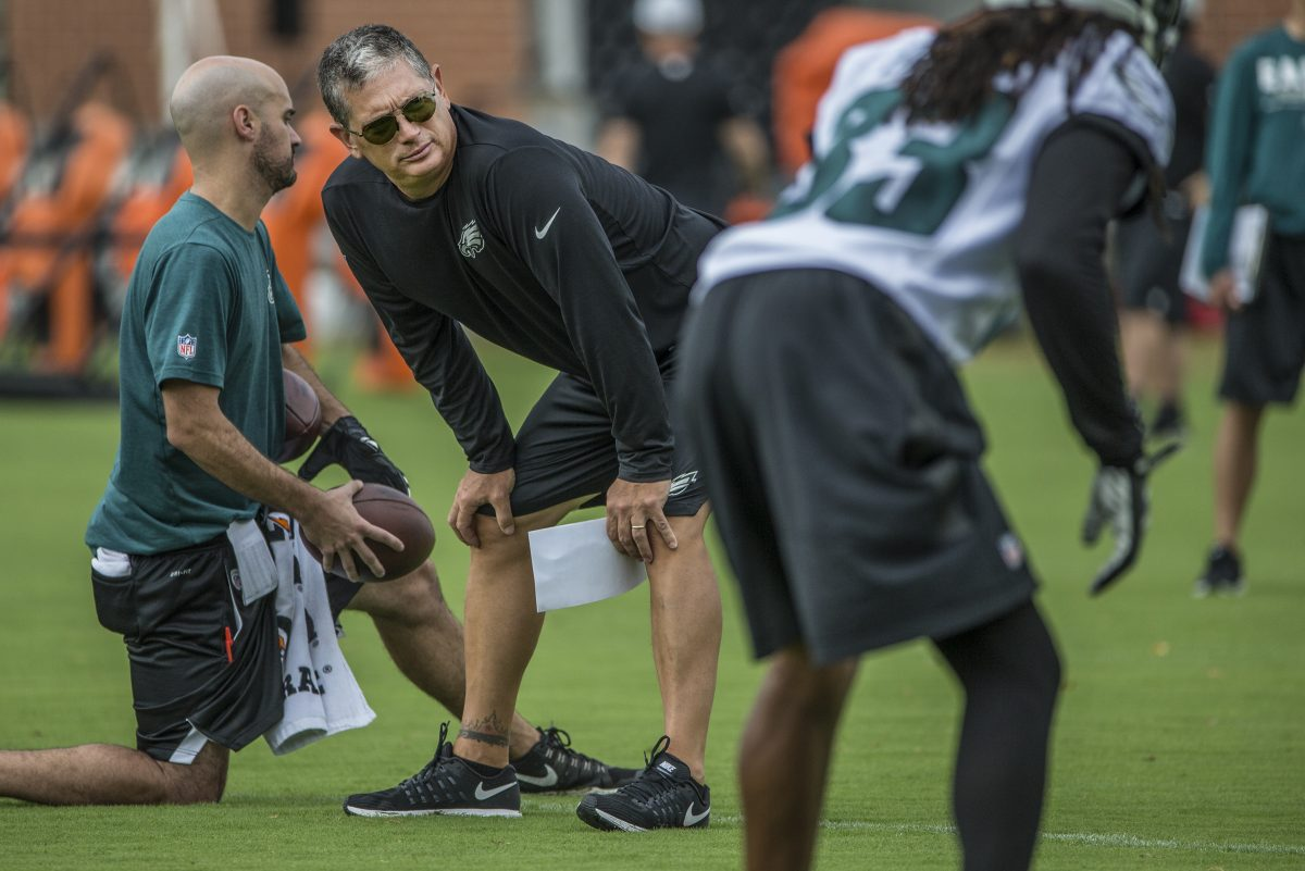 Eagles defensive coordinator Jim Schwartz during training camp at the NovaCare Complex on Monday, July 24, 2017.