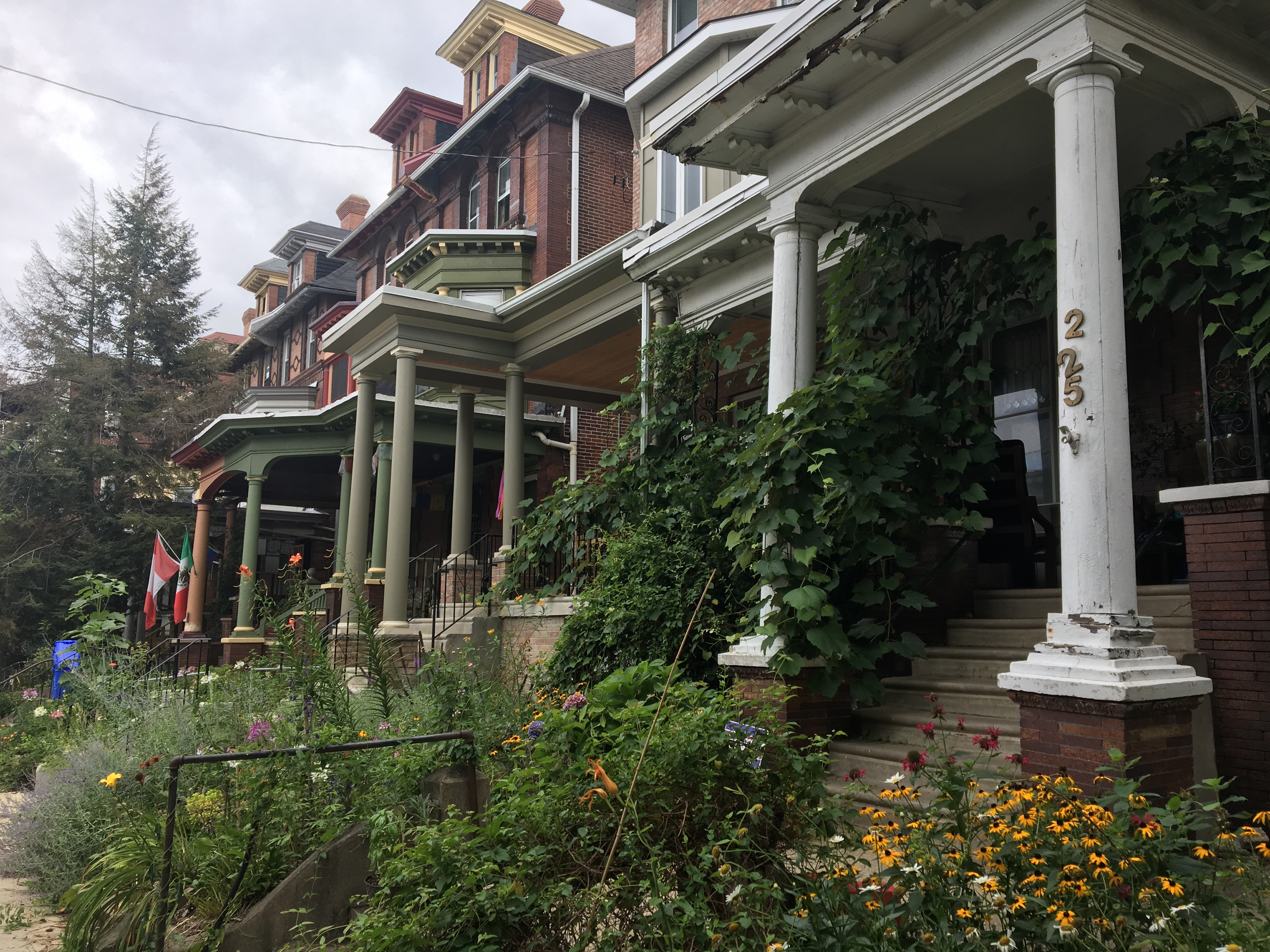 Spruce Hill is considered one of America´s finest streetcar sububrbs because of its dense collection of late 19th Century houses. Elaborate Victorian porches line 45th Street. Photo: Inga Saffron