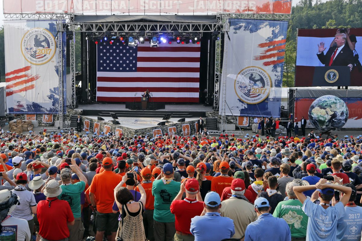 President Donald Trump waves to the crowd of scouts at the 2017 National Boy Scout Jamboree at the Summit in Glen Jean,W. Va., on Monday.