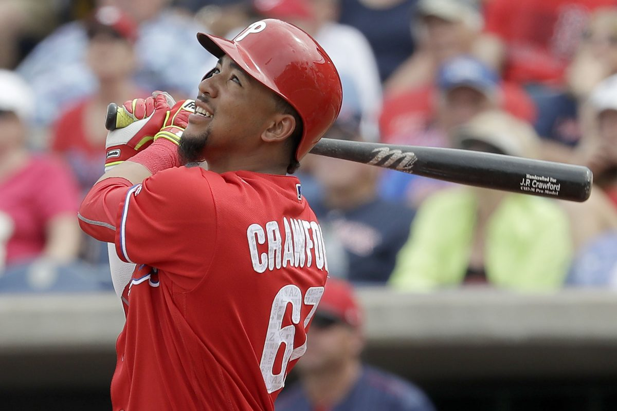 Phillies prospect J.P. Crawford had a deep shot barely stay in play, and turned it into an inside-the-park grand slam.